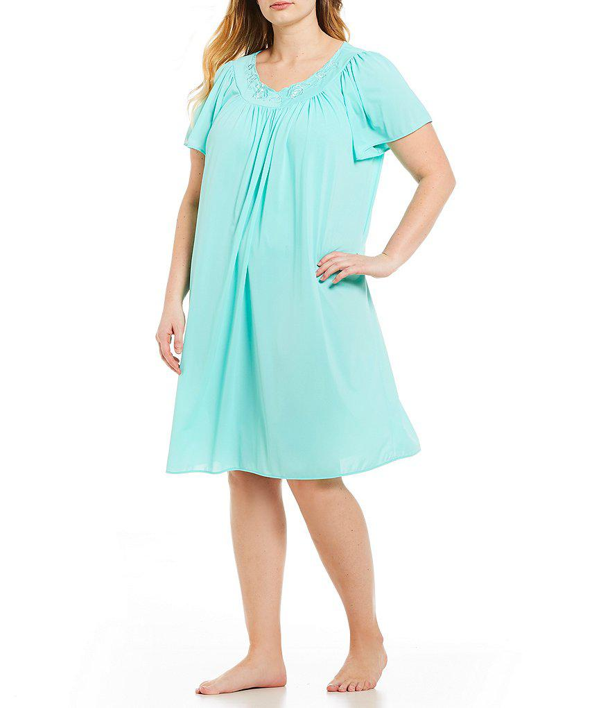Lyst - Miss Elaine Plus Tricot Short Gown in Blue