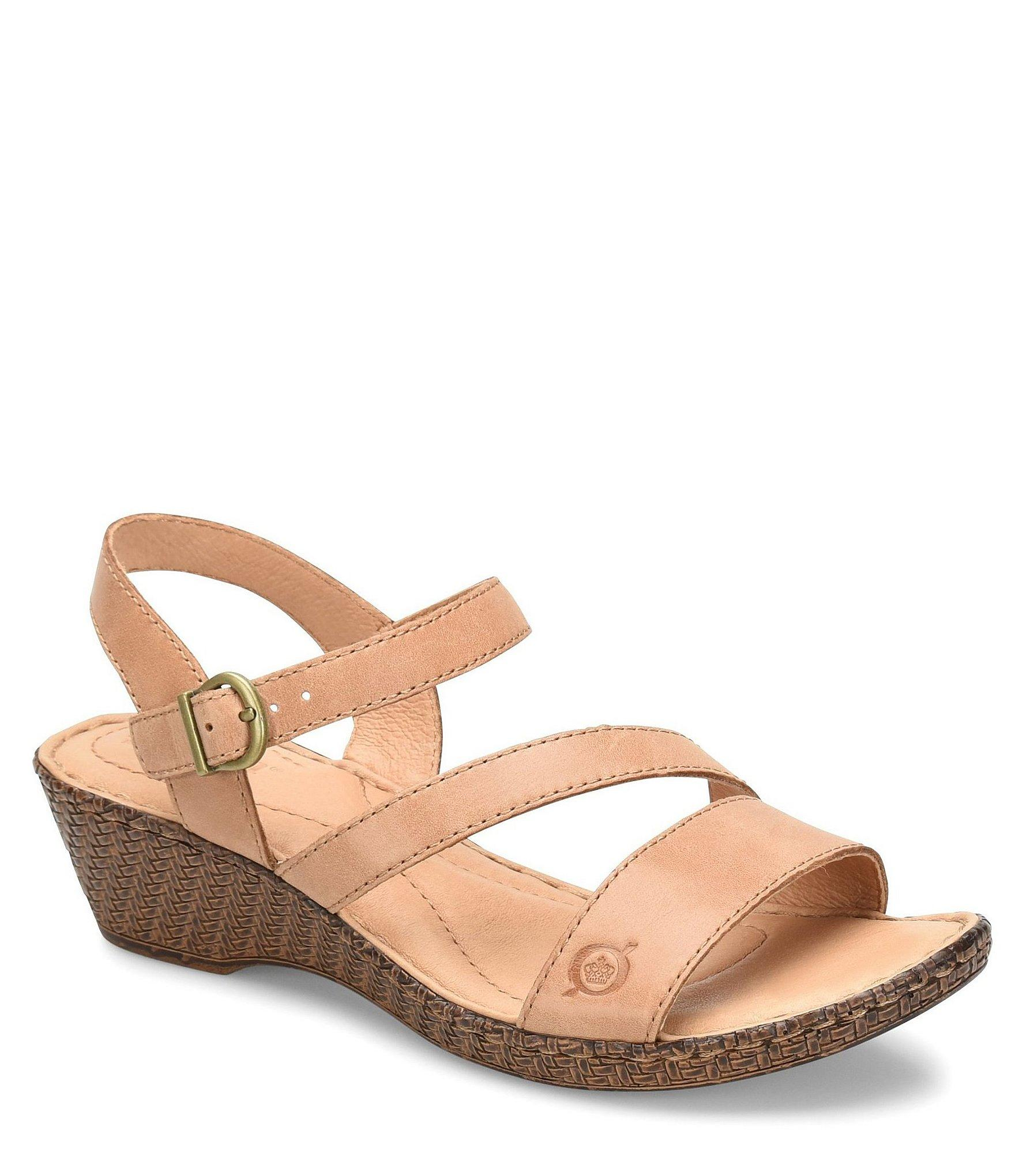23601e509643 Lyst - Born Iemza Leather Wedge Sandals in Brown