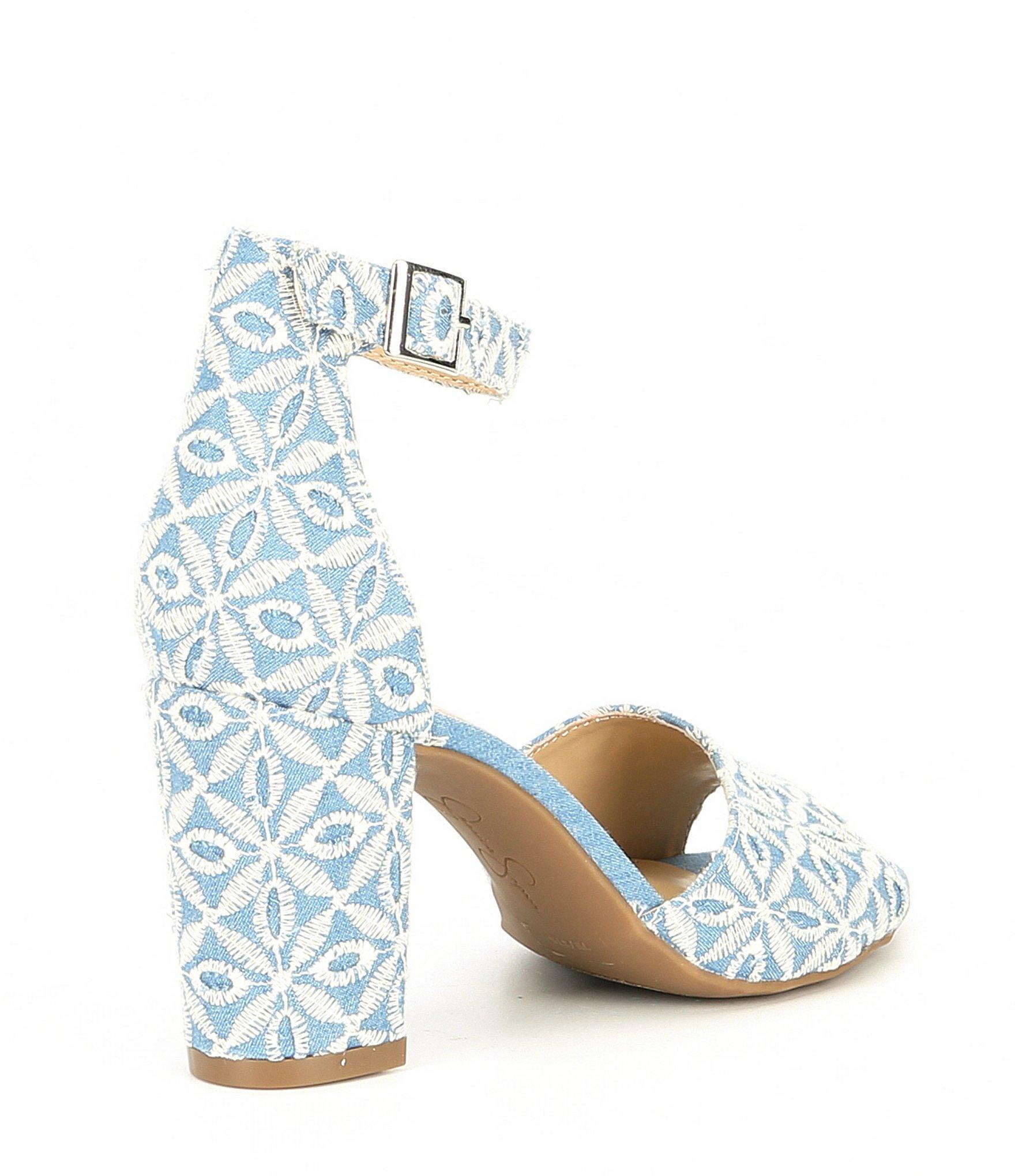 f4b829779b1 Jessica Simpson - Blue Sherron Denim Ankle Strap Block Heel Sandals - Lyst.  View fullscreen