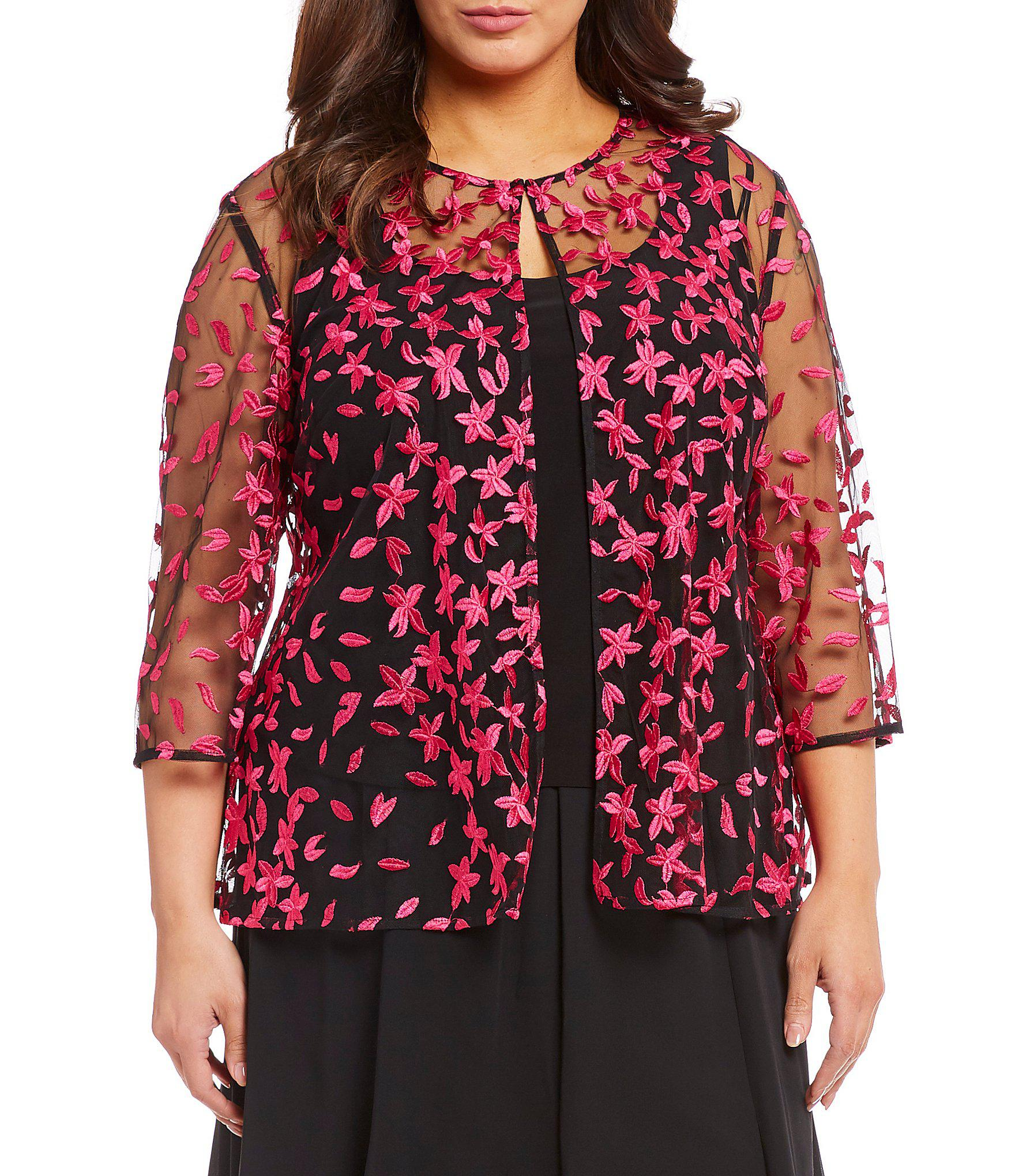 9eefc9f99a4 Lyst - Alex Evenings Plus Size 3 4 Sleeve Floral Embroidered Twinset ...