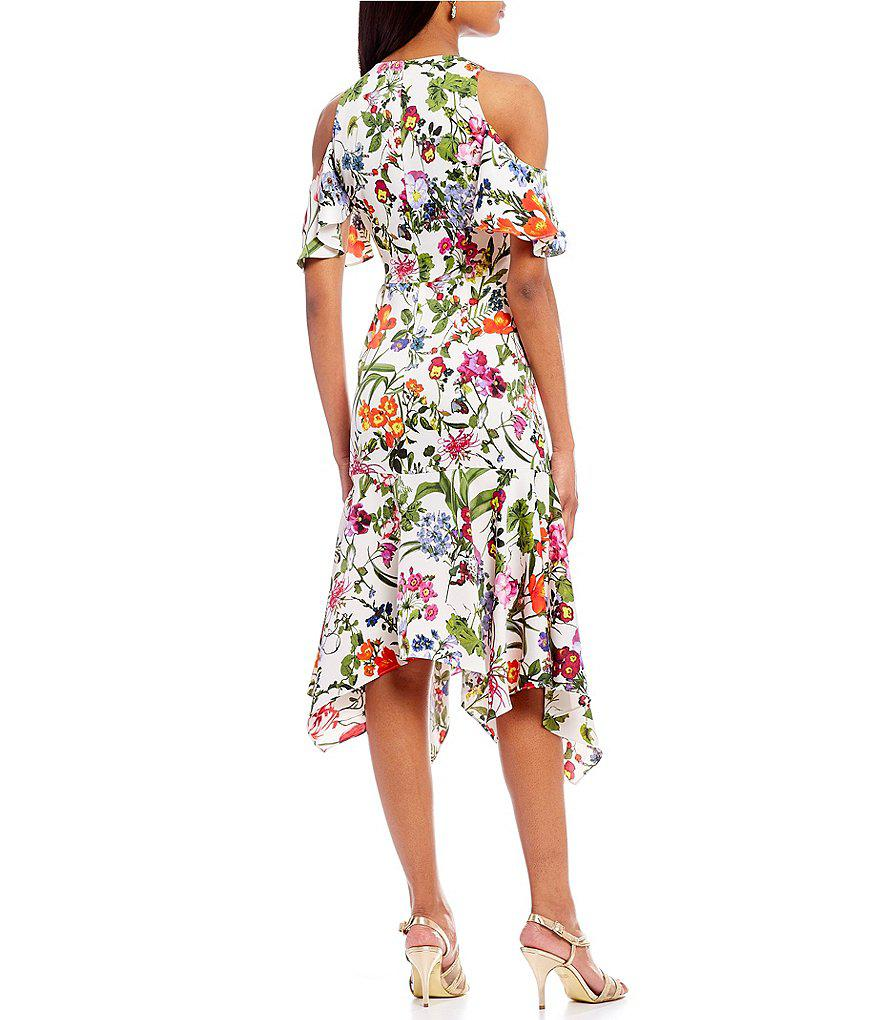 626d8294aa2 Maggy London Floral Print Cold Handkerchief Hem Midi Dress - Lyst