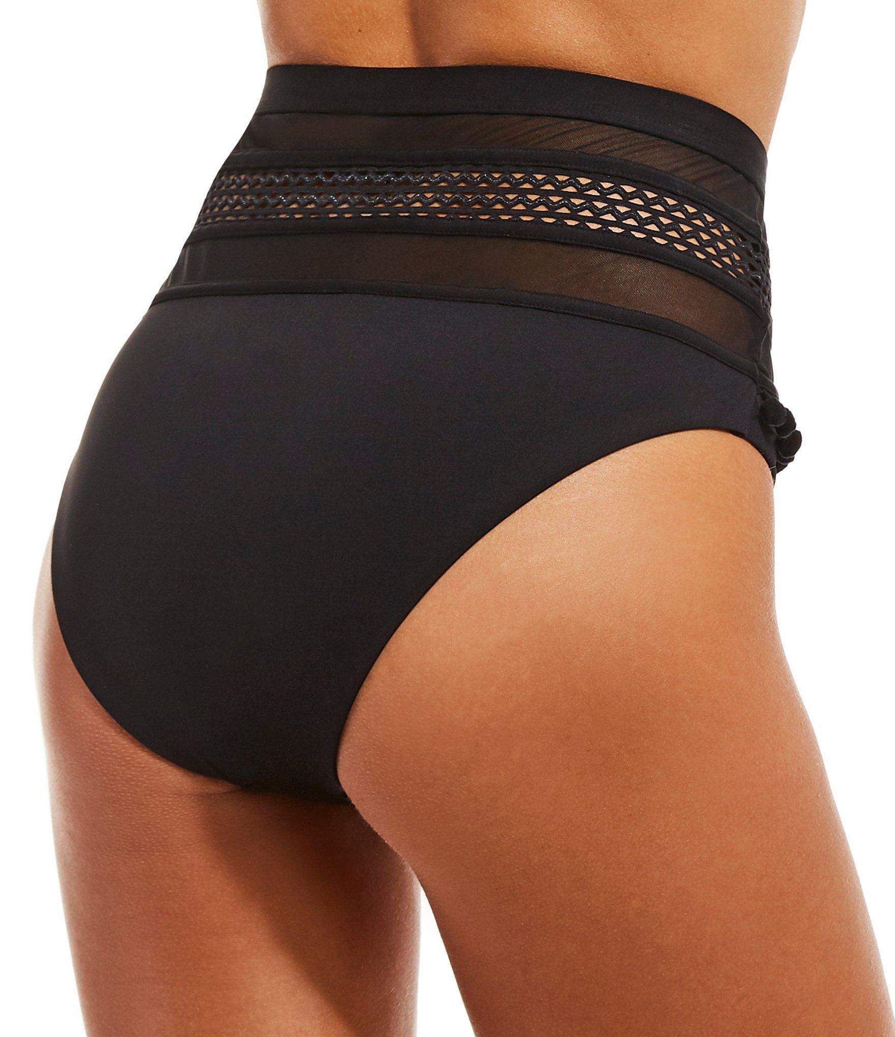 d226a0ed461bc Gianni Bini - Fan Fav Solid Black Hi-waist Pom Mesh Swimsuit Bottoms - Lyst.  View fullscreen
