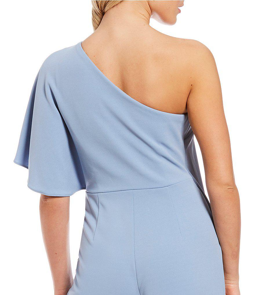 936cb67348f Lyst - Adrianna Papell Crepe One Shoulder Jumpsuit in Blue