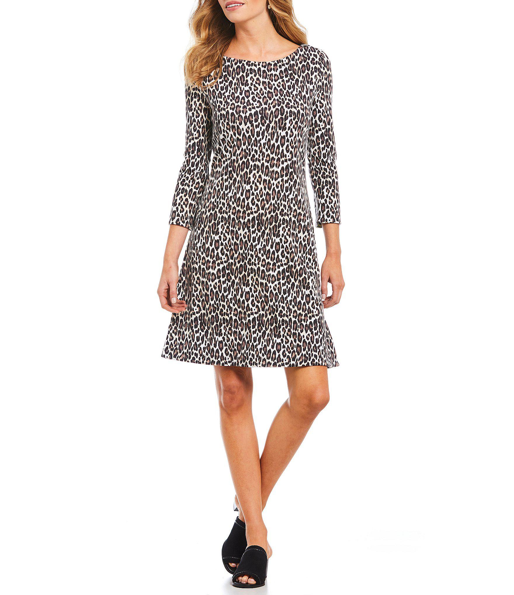 2bfb0af041 Lyst - Tommy Bahama Cat s Meow Animal Print 3 4 Sleeve A-line Dress ...