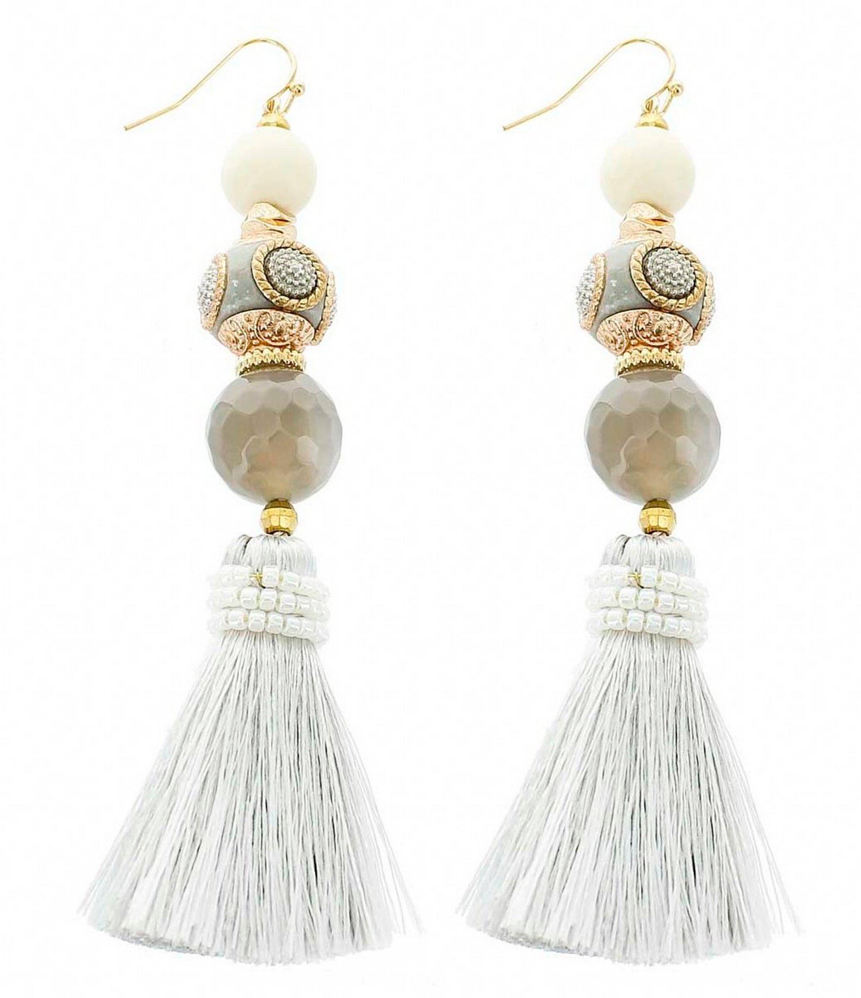 ec0e24355cf5a Lyst - Panacea Artisan Beaded Tassel Statement Earrings in White