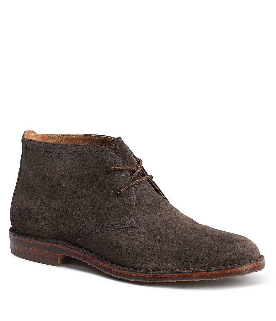 Trask. Brown Men S Brady Italian Waxed Suede Chukka Boots