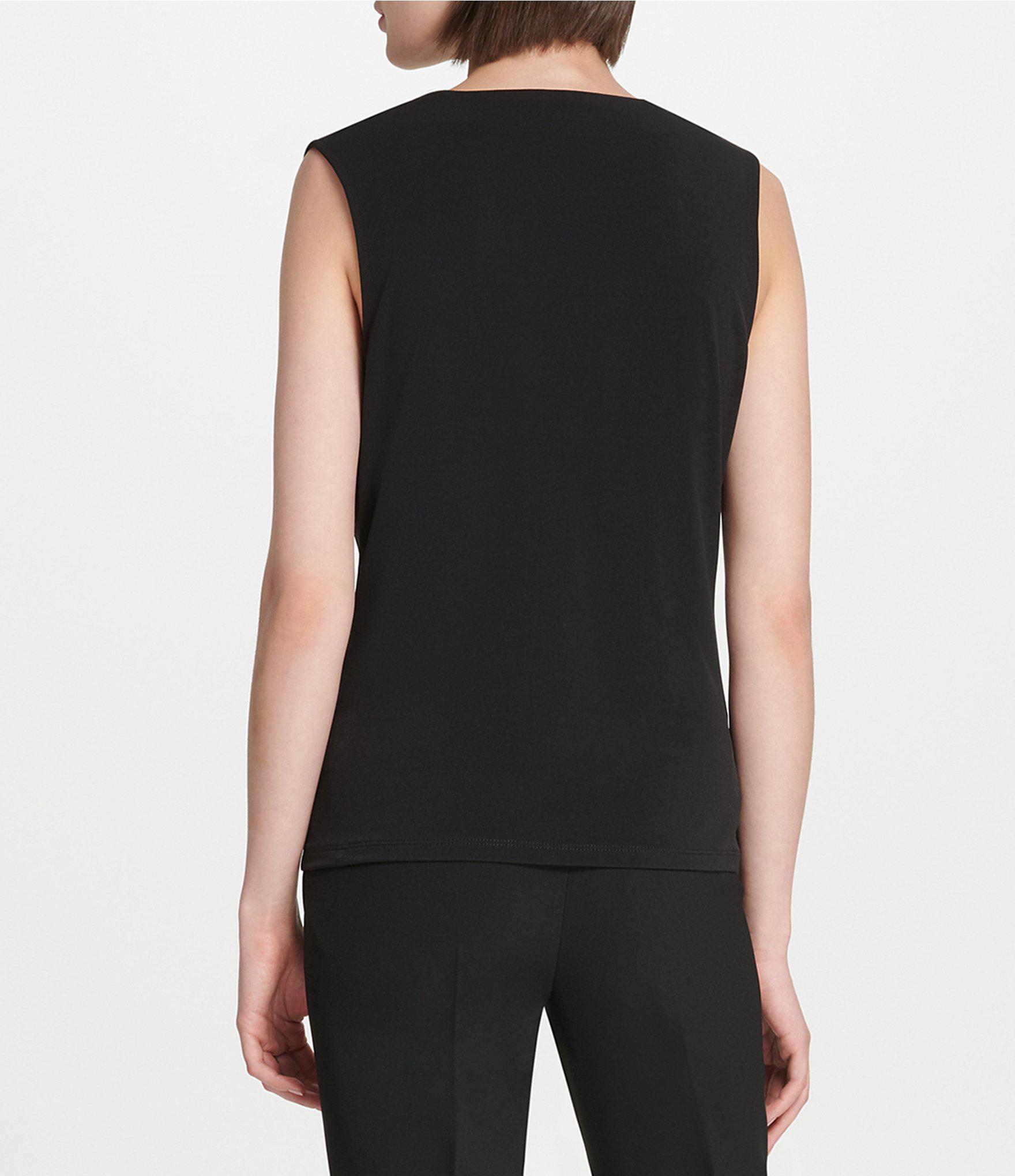 158fcc58d937a Donna Karan - Black New York Draped V-neck Matte Jersey Top - Lyst. View  fullscreen