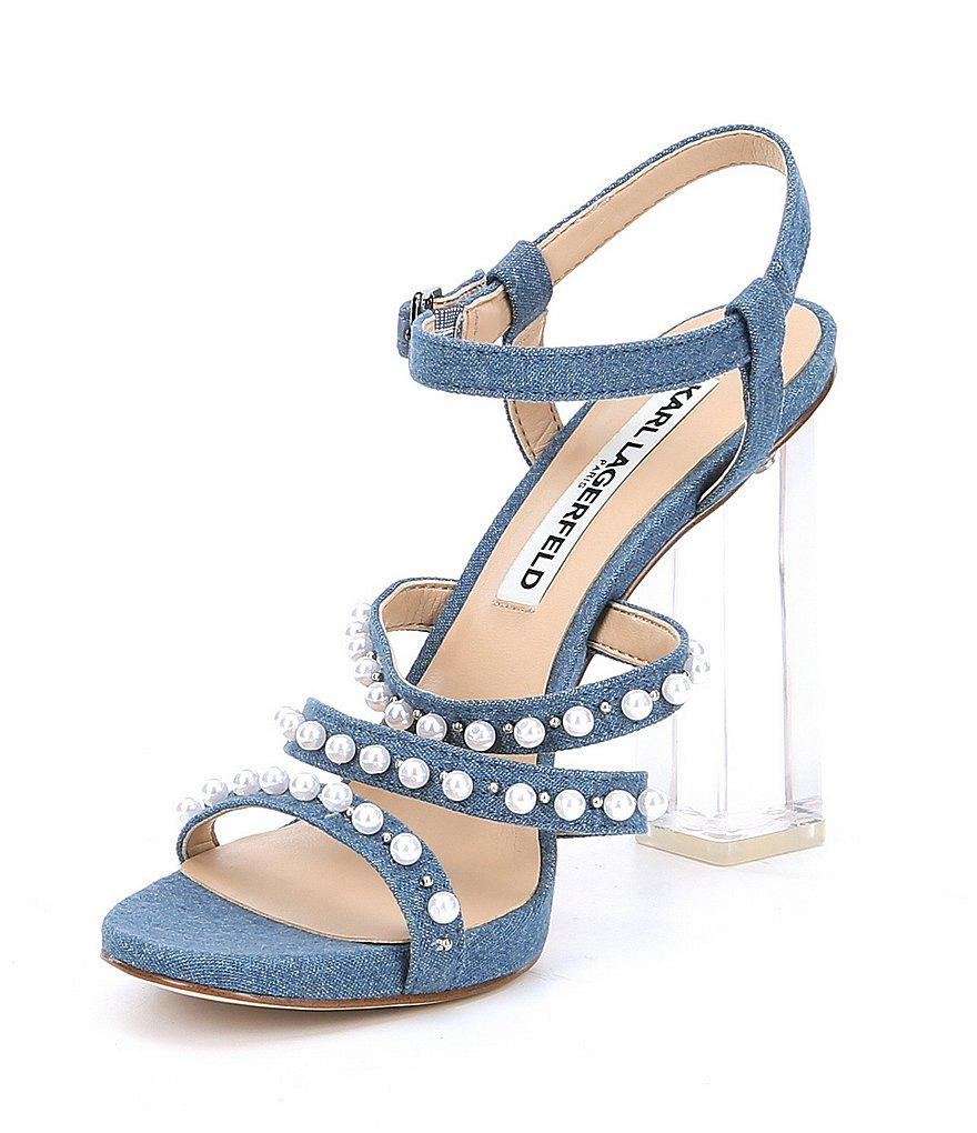 KARL LAGERFELD PARIS Lara7 Denim Pearl Detail Block Heel Strappy Dress Sandals aEO0Y