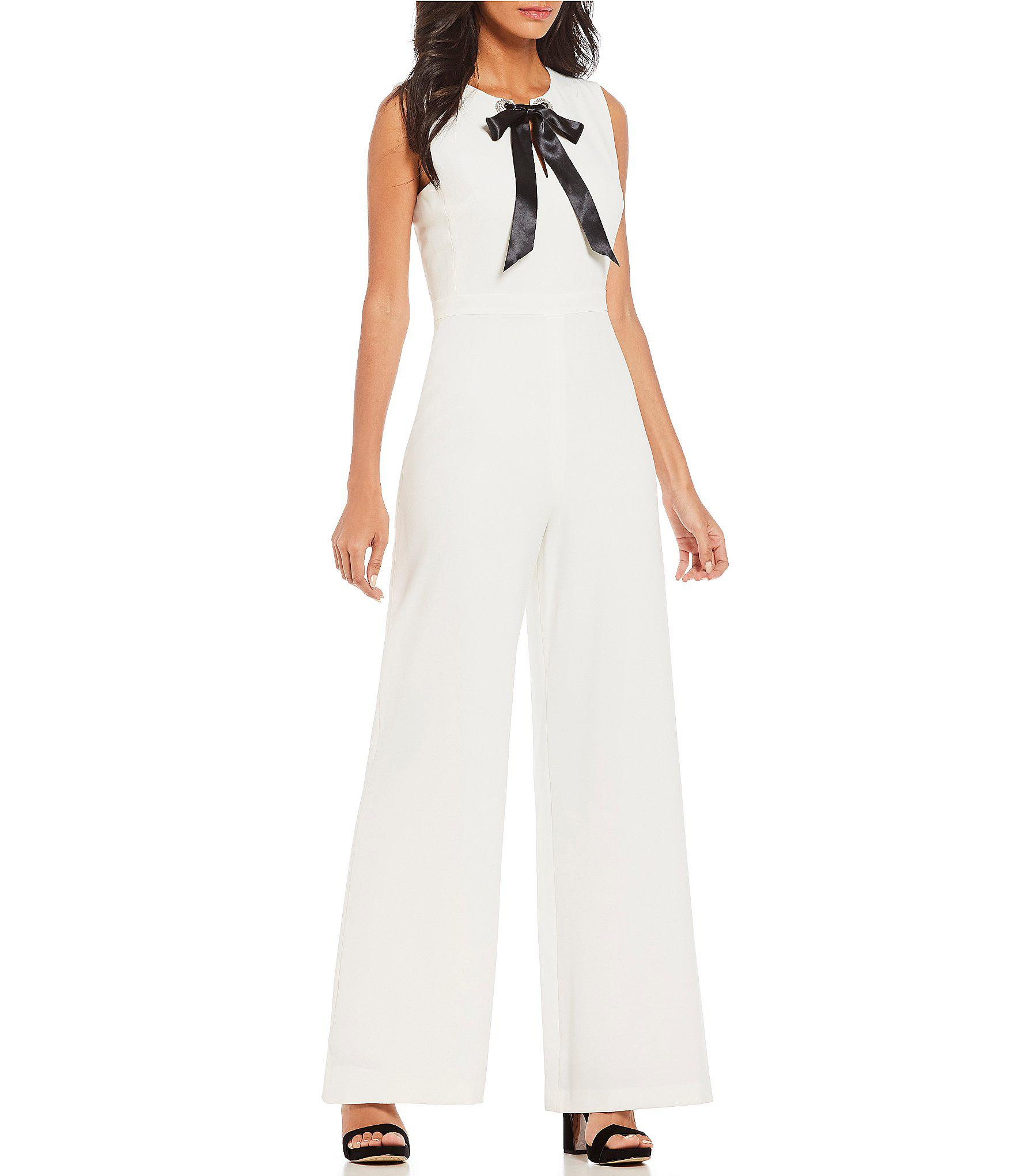 936e025a0a2 Lyst - Karl Lagerfeld Tie Bow Jumpsuit in White