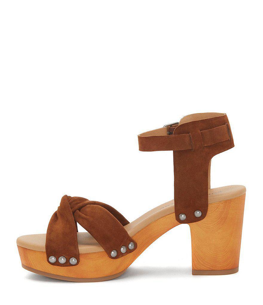Lucky Brand Whitneigh Nubuck Studded Block Heel Sandals uNI89cr51Q