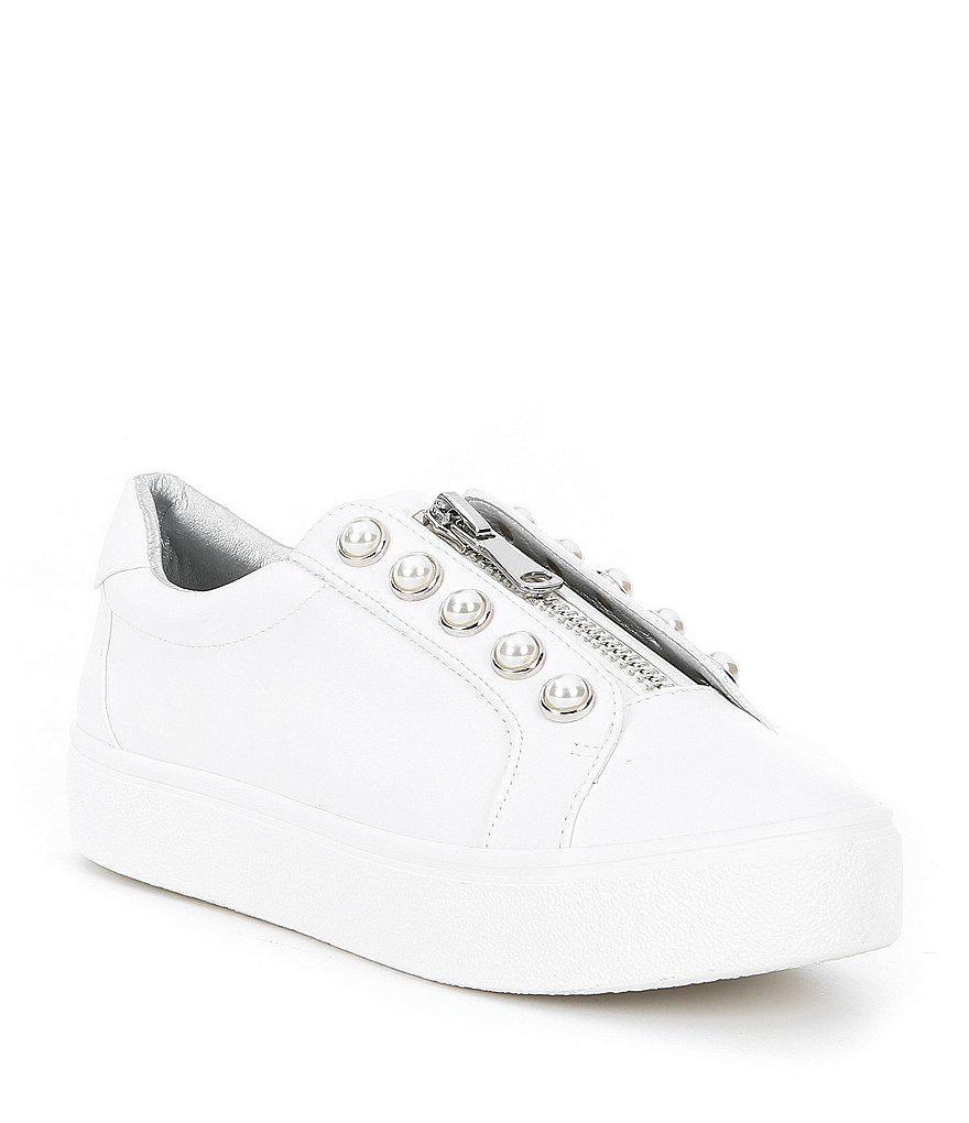 9734e299002 Lyst - Steve Madden Lynn Pearl Zip Sneakers in White