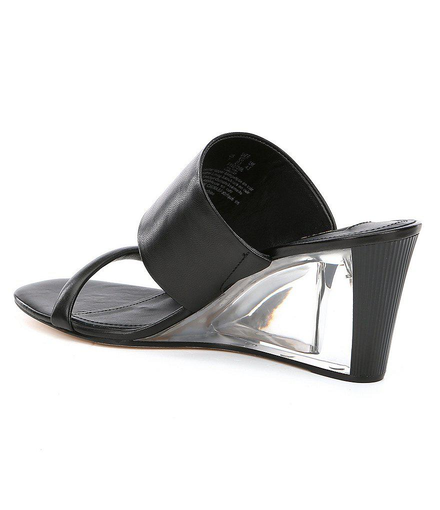 Donna Karan Gaby Lucite Wedge Sandals