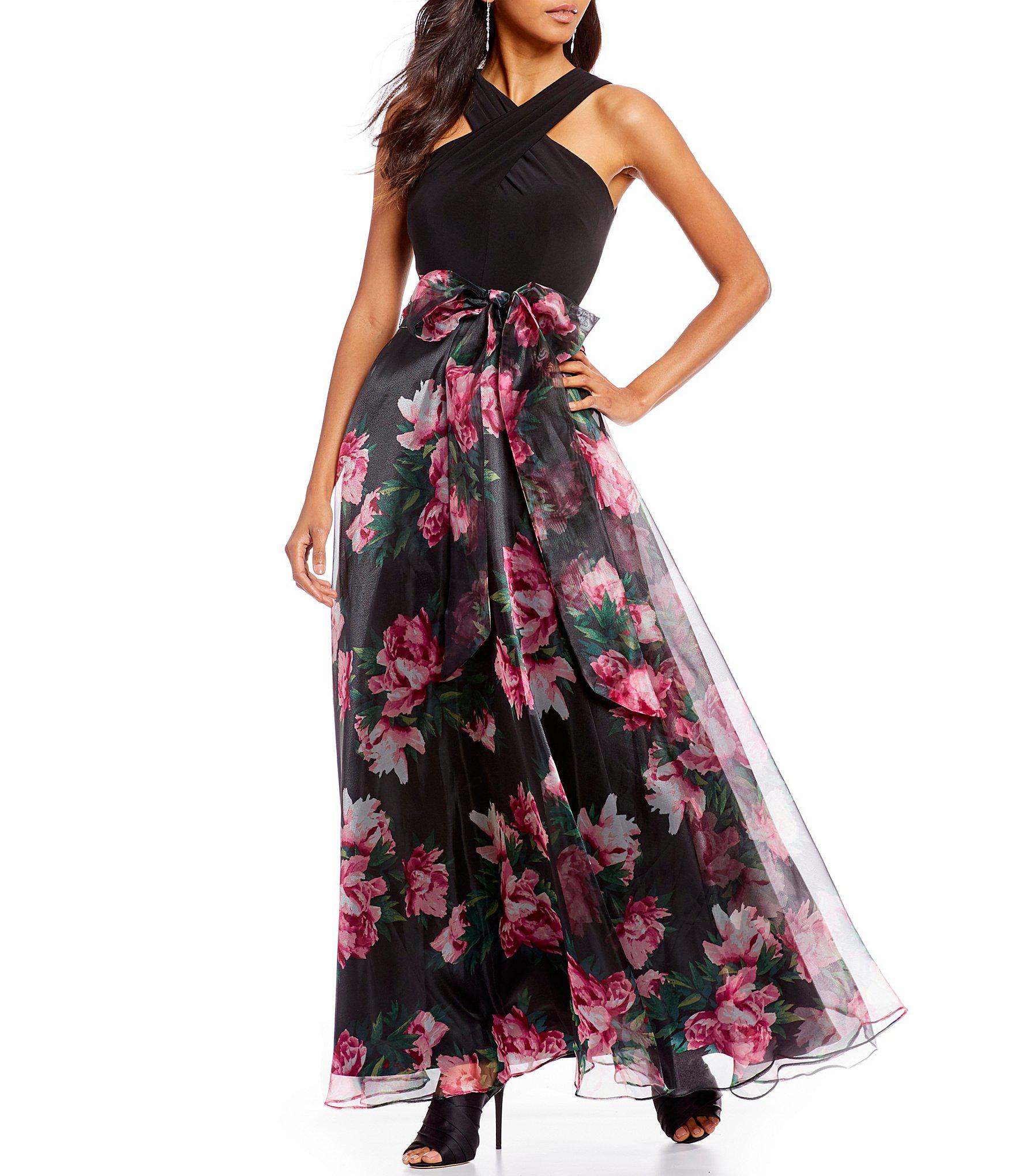 5089177dc Eliza J Twisted Floral Print Pleated Skirt Halter Neck Organza ...