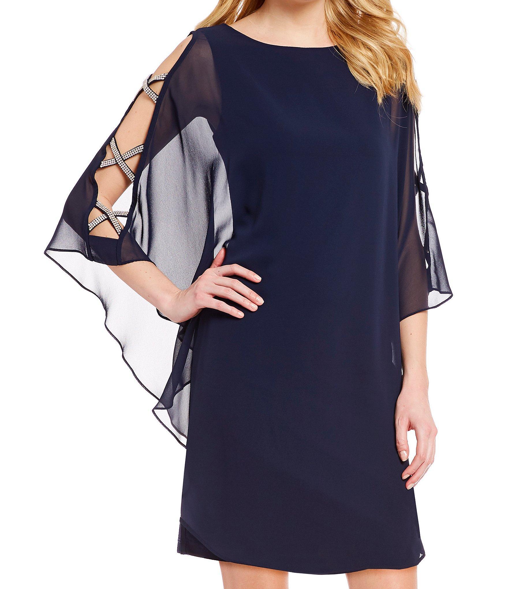 f941d15c795 Xscape - Blue Chiffon Cape Sleeve Sheath Dress - Lyst. View fullscreen