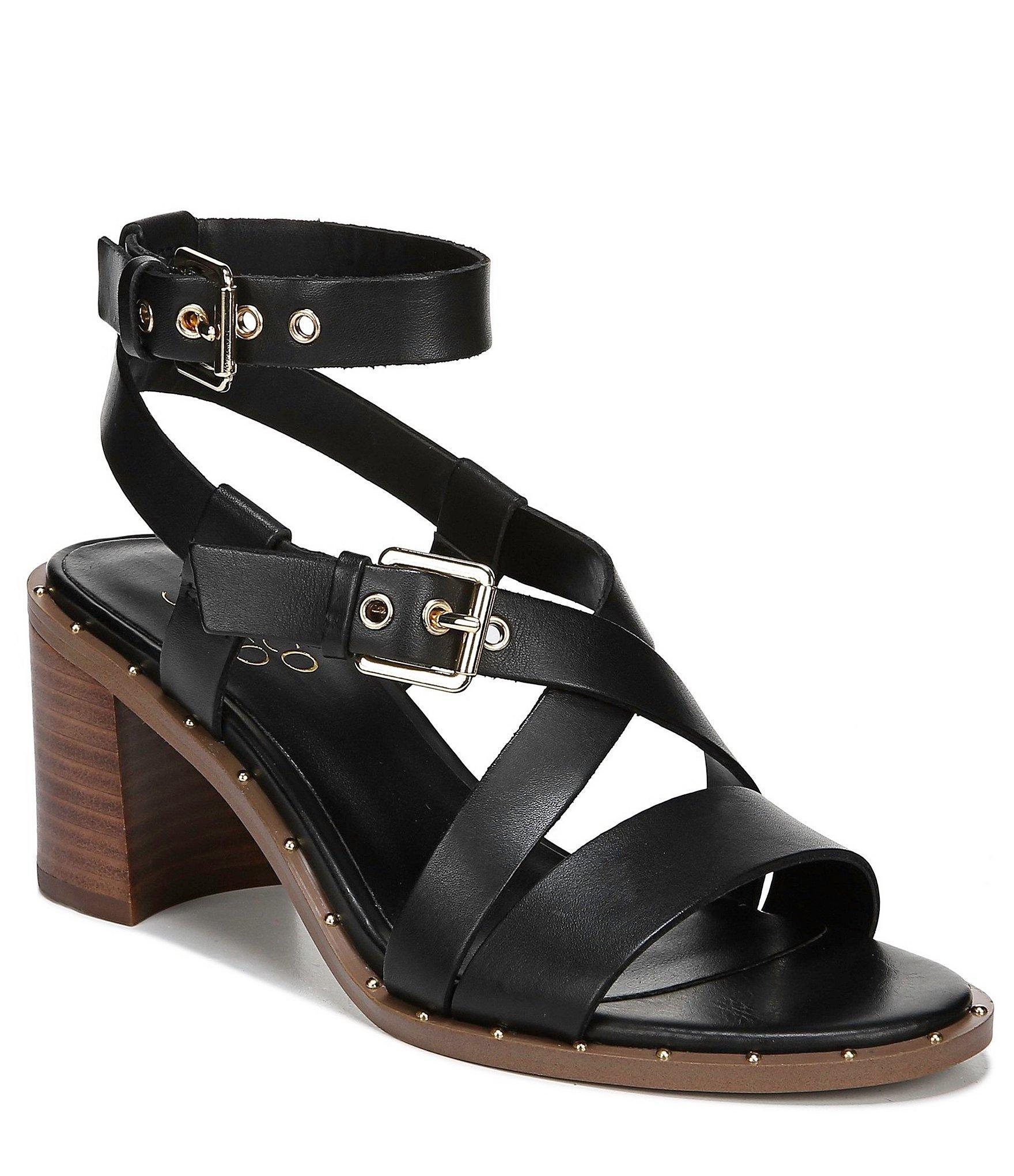 67fc5beb4 Lyst - Franco Sarto Halina Leather Block Heel Sandals in Black
