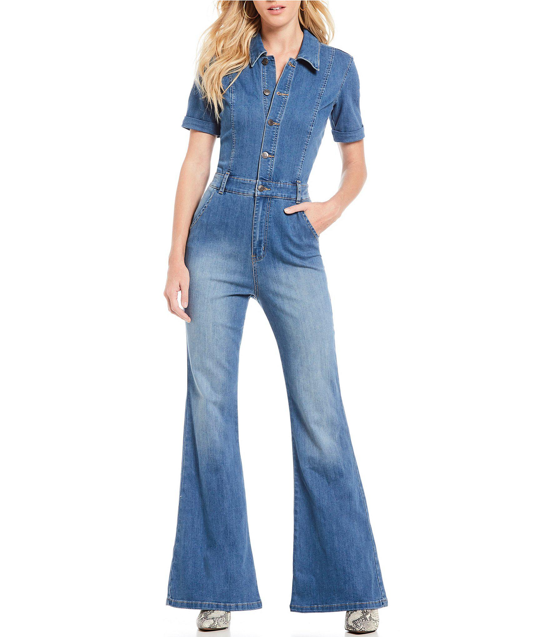 6a3d9d1b187 Lyst - Ella Moss Retro Button Front Flare Leg Denim Jumpsuit in Blue