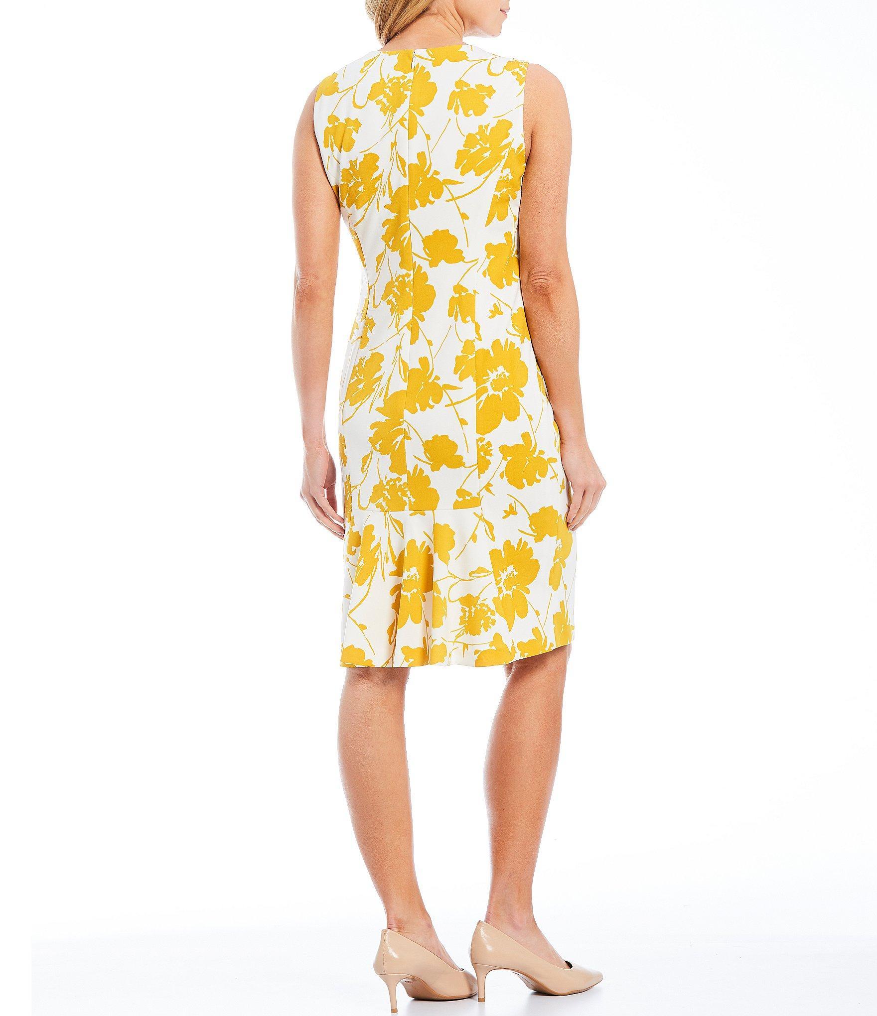 b5e97a68b6e Kasper - Yellow Floral Print Crepe Square Neck Sheath Dress - Lyst. View  fullscreen