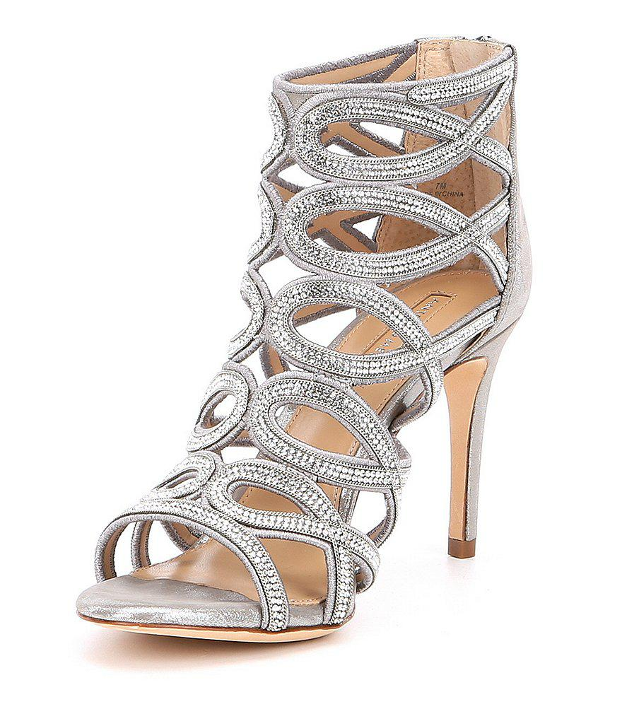 Antonio Melani Pagee Rhinestone Detail Metallic Leather Dress Sandals V5O7I