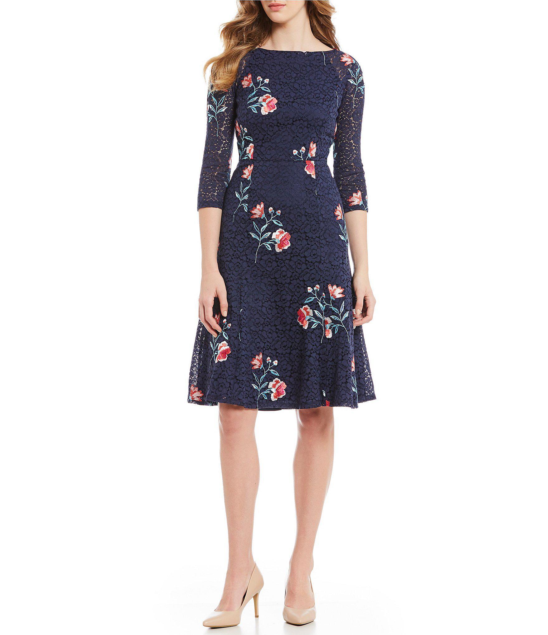 bf060a7e1f78 Lyst - Eliza J Floral Print Lace A-line Dress in Blue