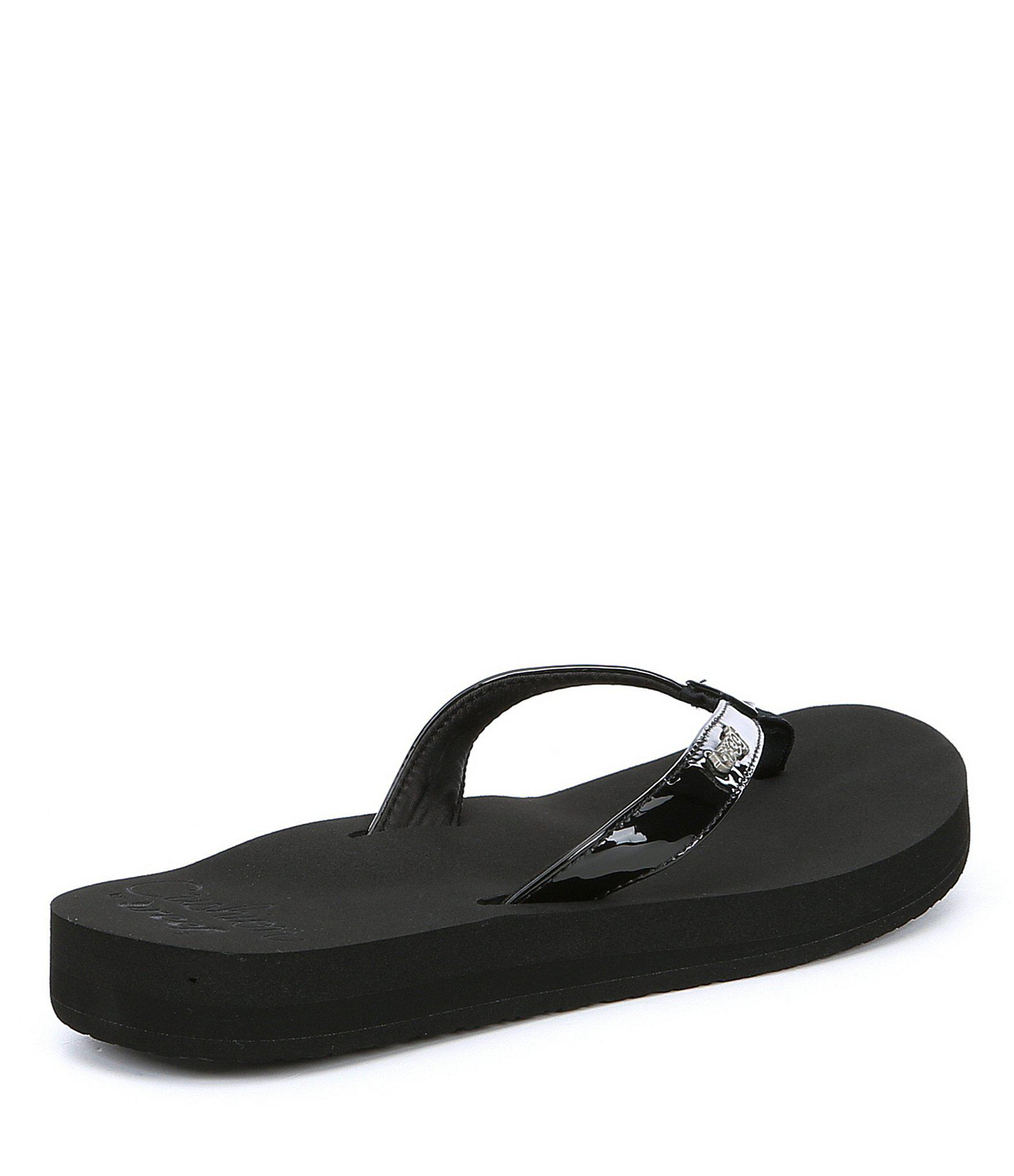 0c7e5253b89bd2 Reef - Black Cushion Luna Synthetic Patent Flip Flops - Lyst. View  fullscreen