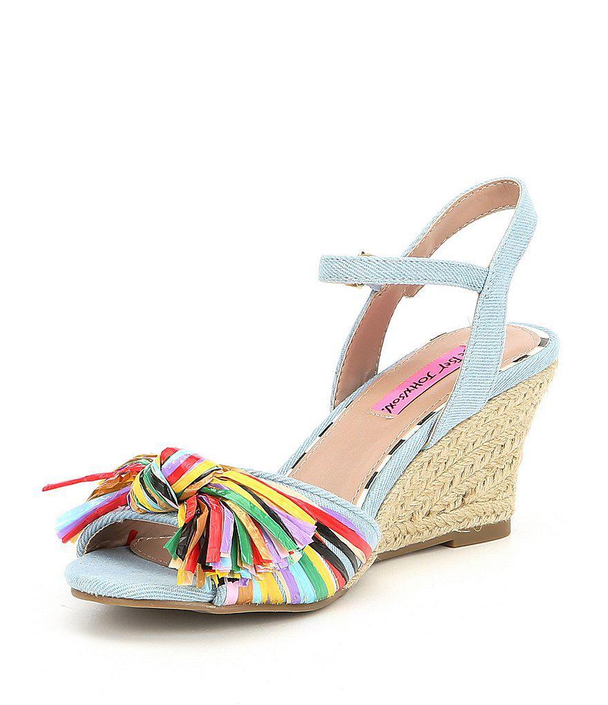 Betsey Johnson Lizzie Denim Multi Color Raffia Espadrille Wedge Sandals zpNtmqDV