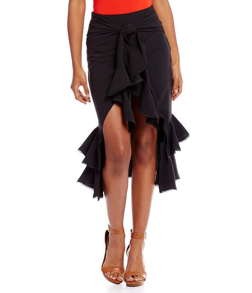 c31adf8437 Gianni Bini Jan Tie Front Ruffle Midi Skirt in Black - Lyst