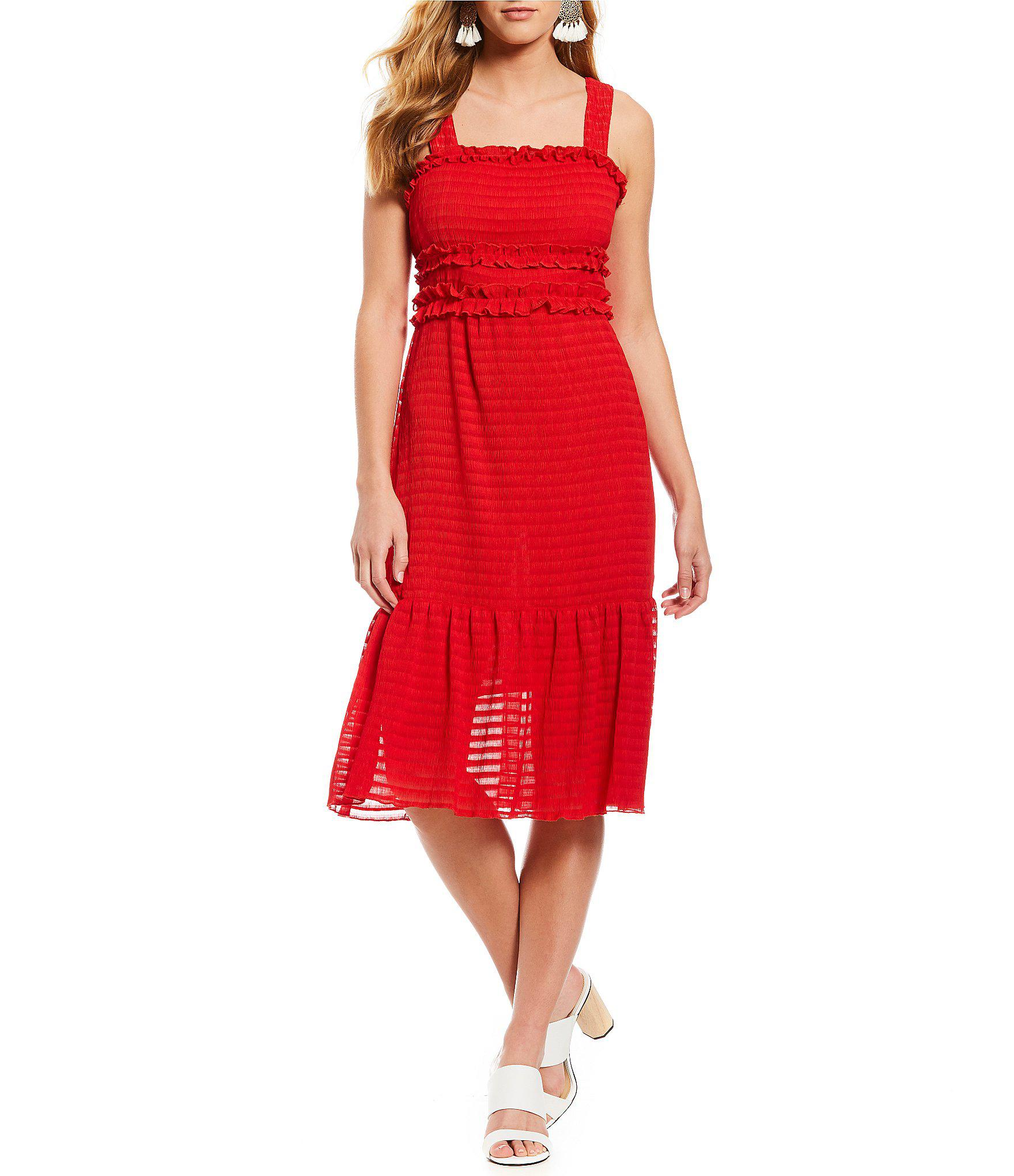 2447632a40 Gianni Bini Snyder Smocked Sheer Stripe Midi Dress in Red - Lyst