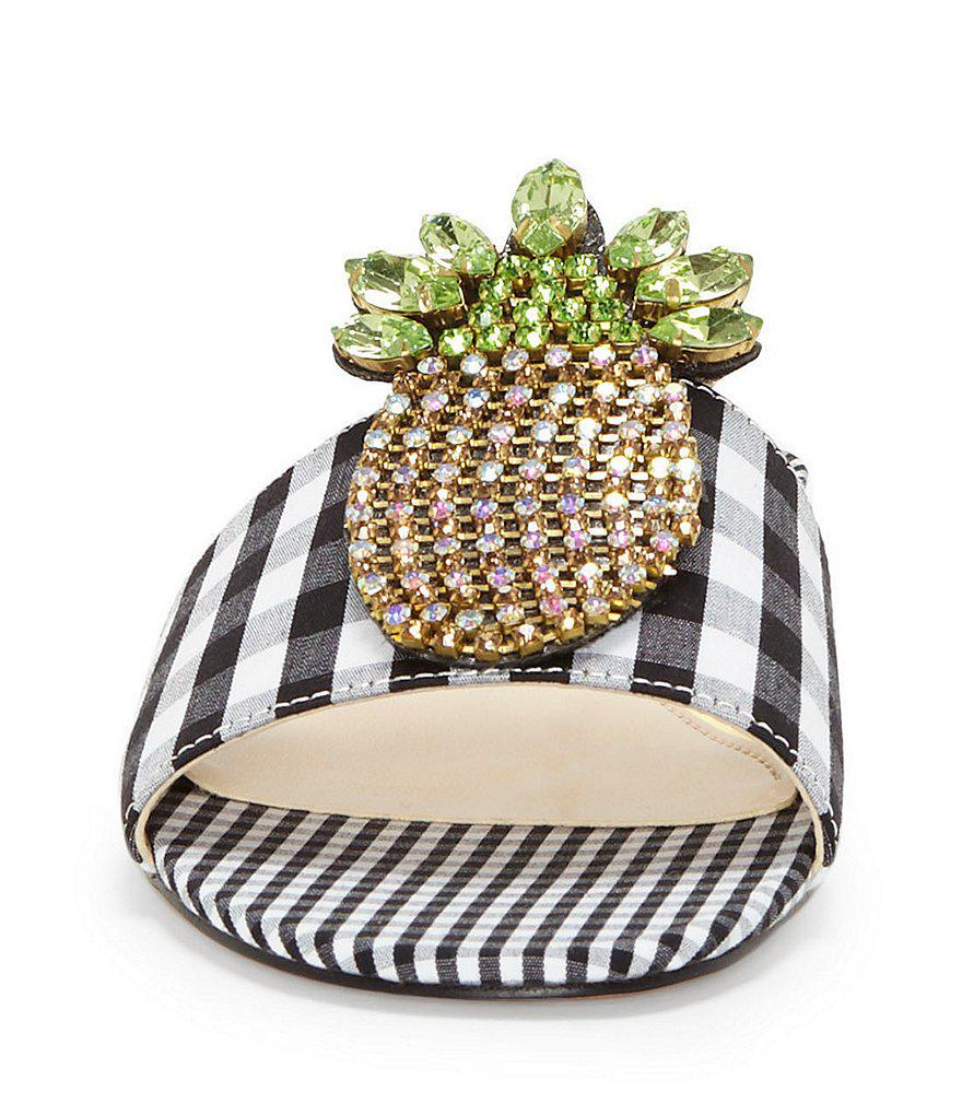 Crizma Jeweled Pineapple Ornament Gingham Flat Slide Sandals JS31n