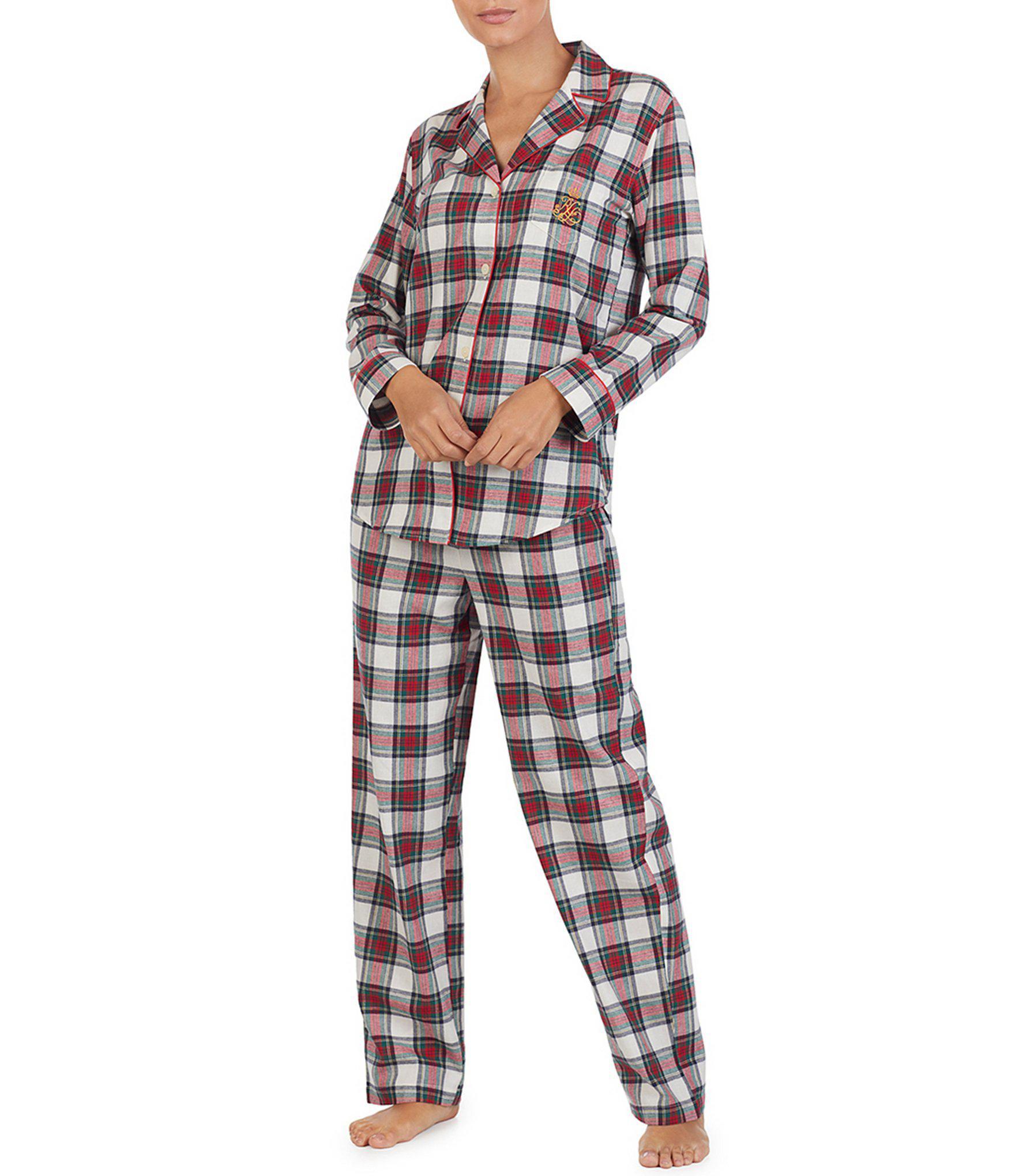 Lauren by Ralph Lauren. Women s Plaid-print Brushed Twill Pajamas 42f2746c3