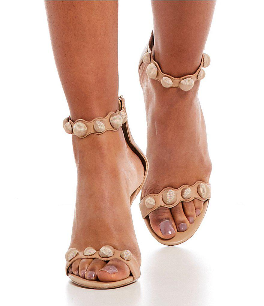 51a507bcccb64 Lyst - Sam Edelman Addison Button Detail Leather Dress Sandals in ...