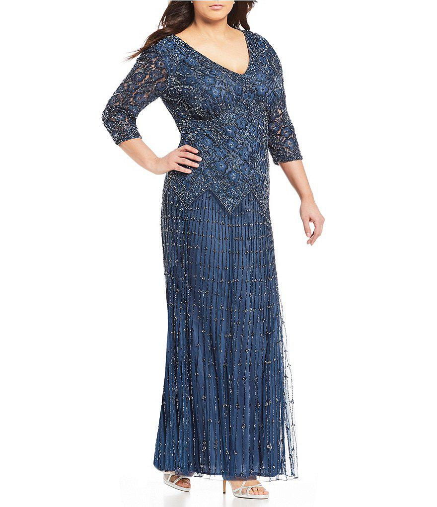 Lyst - Pisarro Nights Plus 3/4 Sleeve Beaded Lace Gown in Purple
