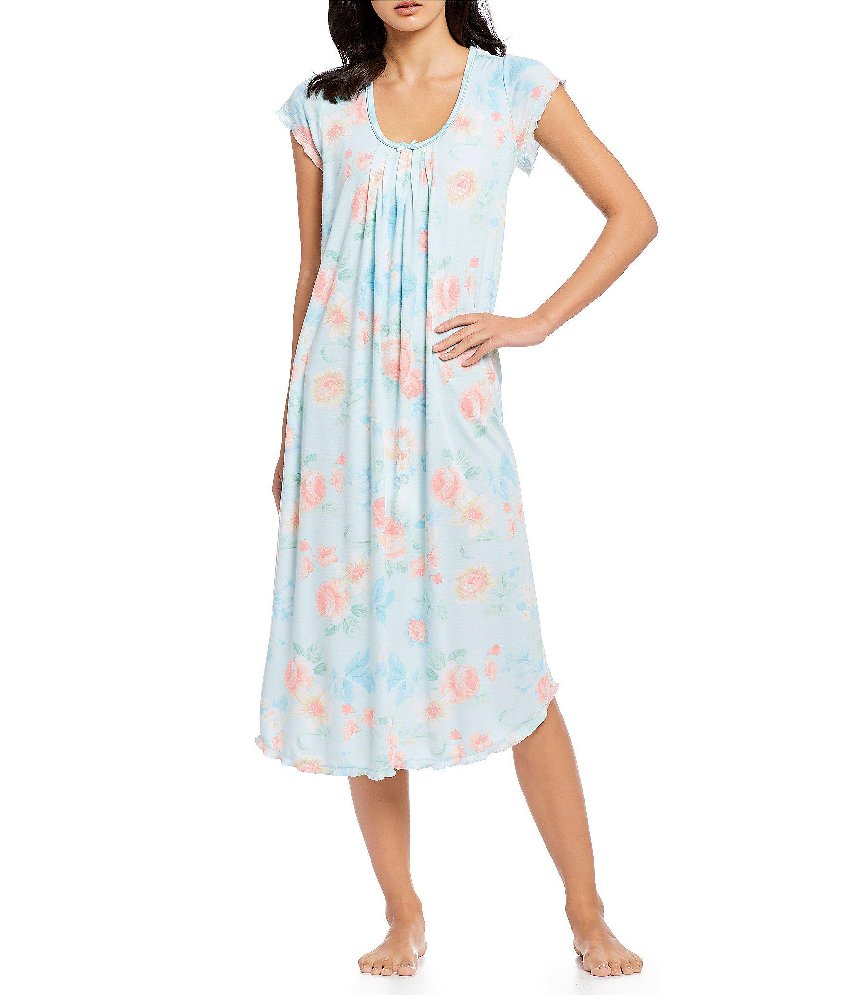 7084a180c8 Lyst - Miss Elaine Softknit Petite Floral Print Long Nightgown in Blue