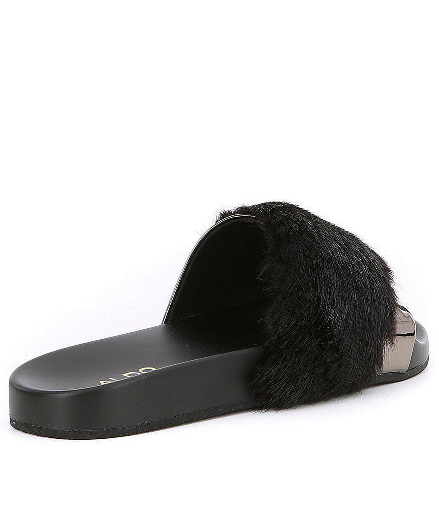 1bd9735816f Lyst - ALDO Gotta Faux Fur Slide-on Sandals in Gray