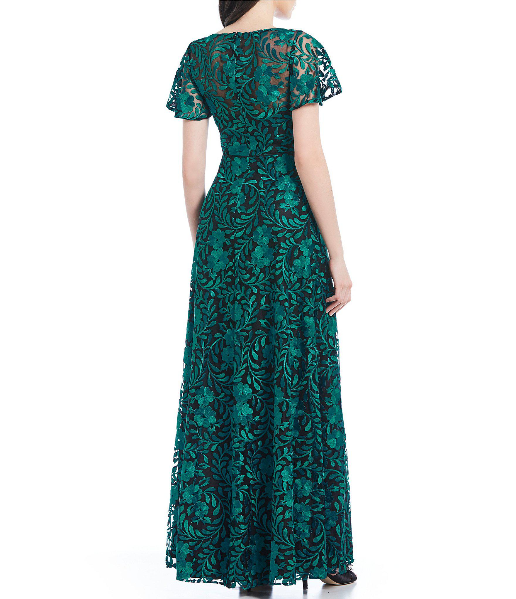 b0b42e3831d Carmen Marc Valvo - Green V-neck Embroidered A-line Gown - Lyst. View  fullscreen
