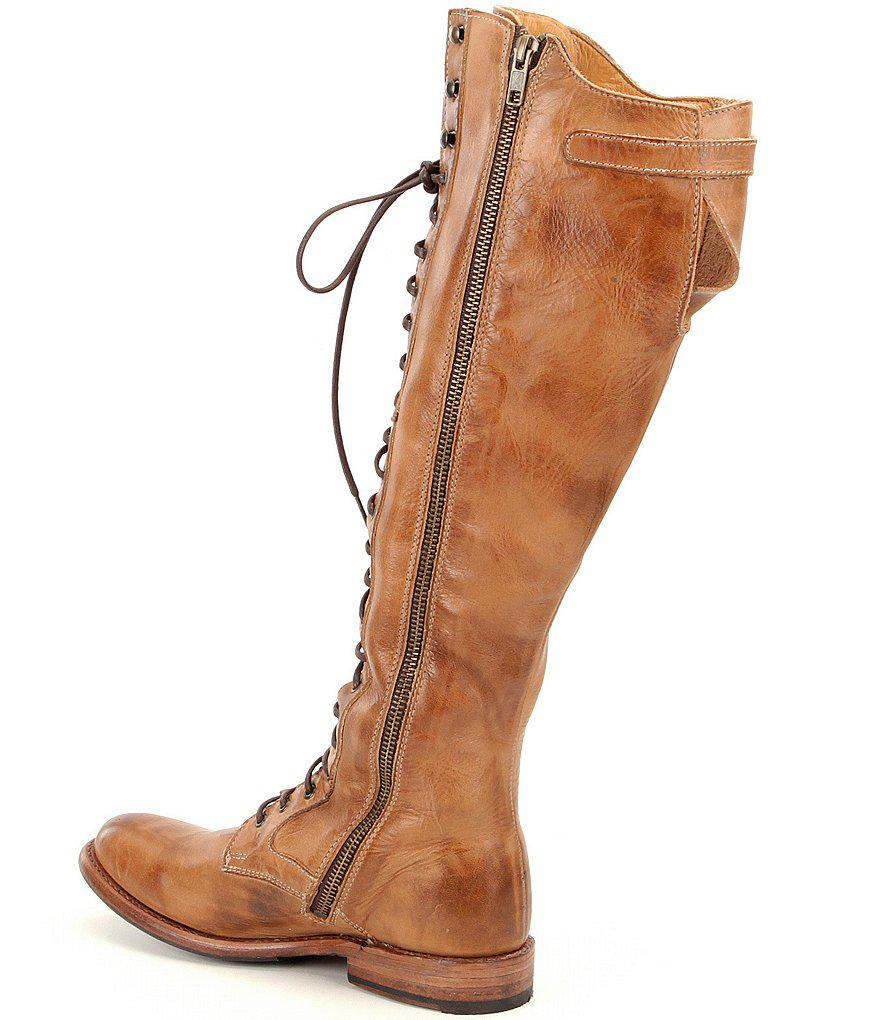 Della Distressed Leather Lace Up Tall Block Heel Combat Boots NKmIUvEjN