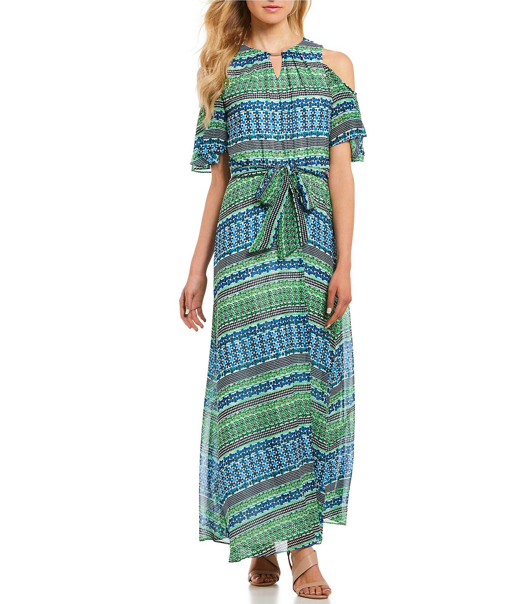 fd31fea62 Lyst - Calvin Klein Tile Stripe Print Halter Neck Cold Shoulder ...