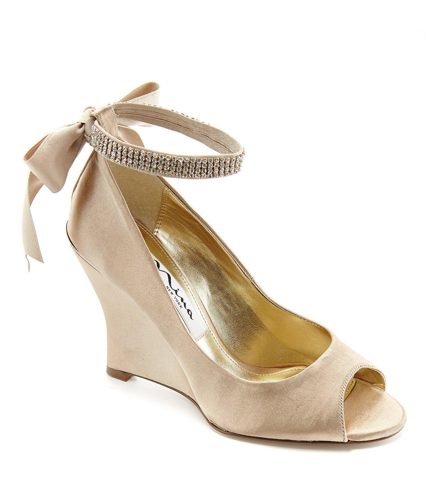 fb814dfe7a3f21 Lyst - Nina Emma Satin Rhinestone Ankle Strap Peep-toe Wedges in Natural