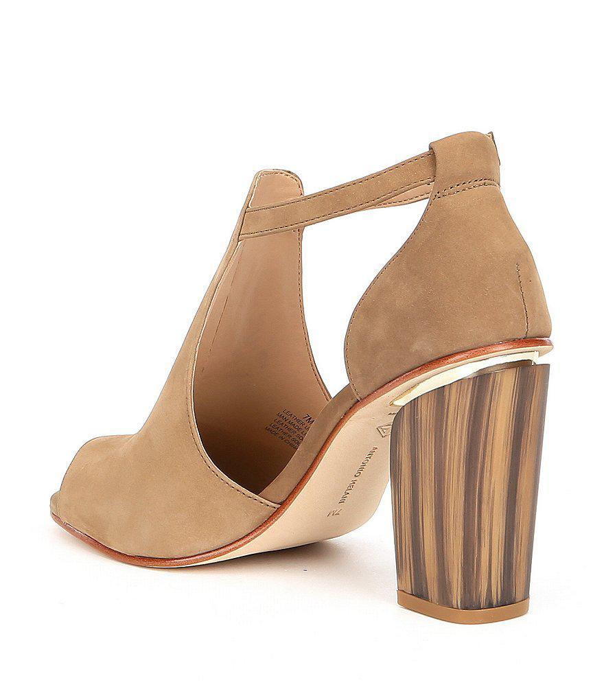 Antonio Melani Malloriee Nubuck Leather Peep-Toe Block Heel Shooties jR7FCHimq