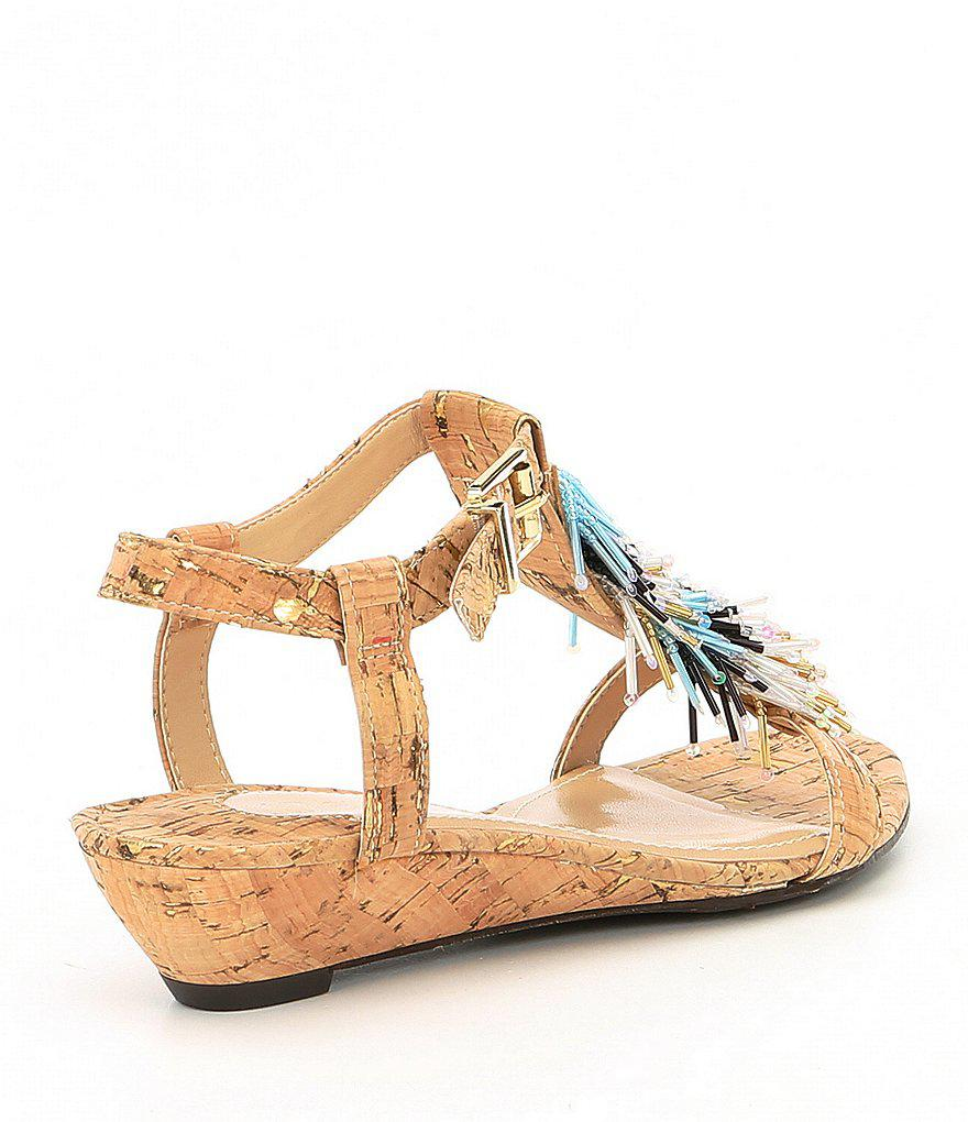 Aleesa Cork Beaded Fringe Wedge Sandals 5rIndPbh