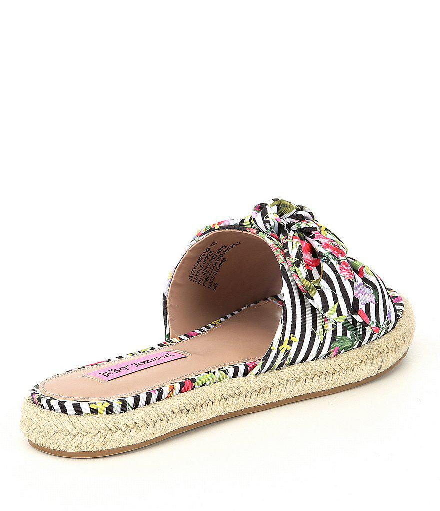 Betsey Johnson Jazzy Knotted Stripe Floral Print Espadrille Slide Sandals bXSsoN5