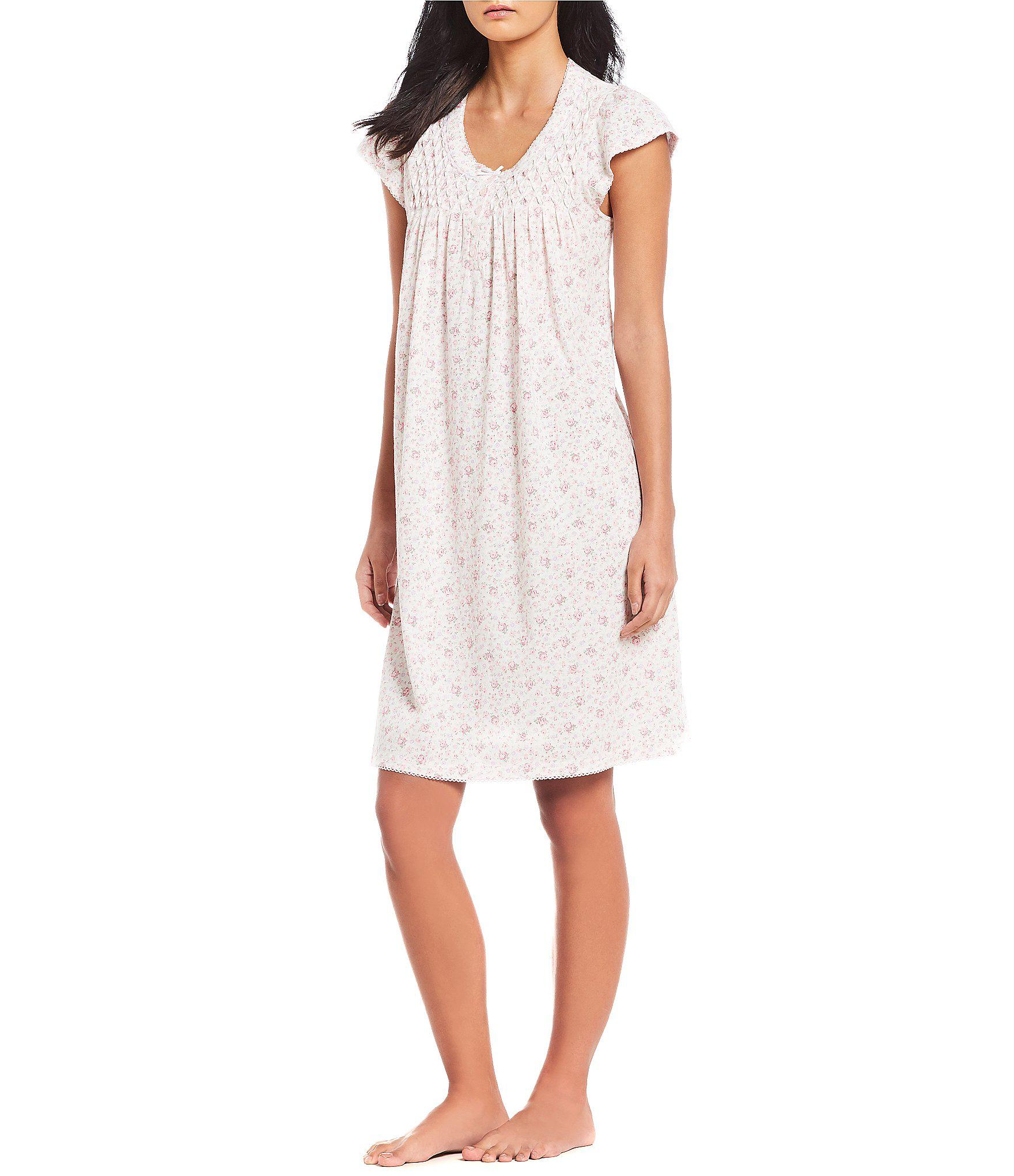 83e6c6c26f Lyst - Miss Elaine Silky Knit Floral Print Flutter-sleeve Nightgown ...