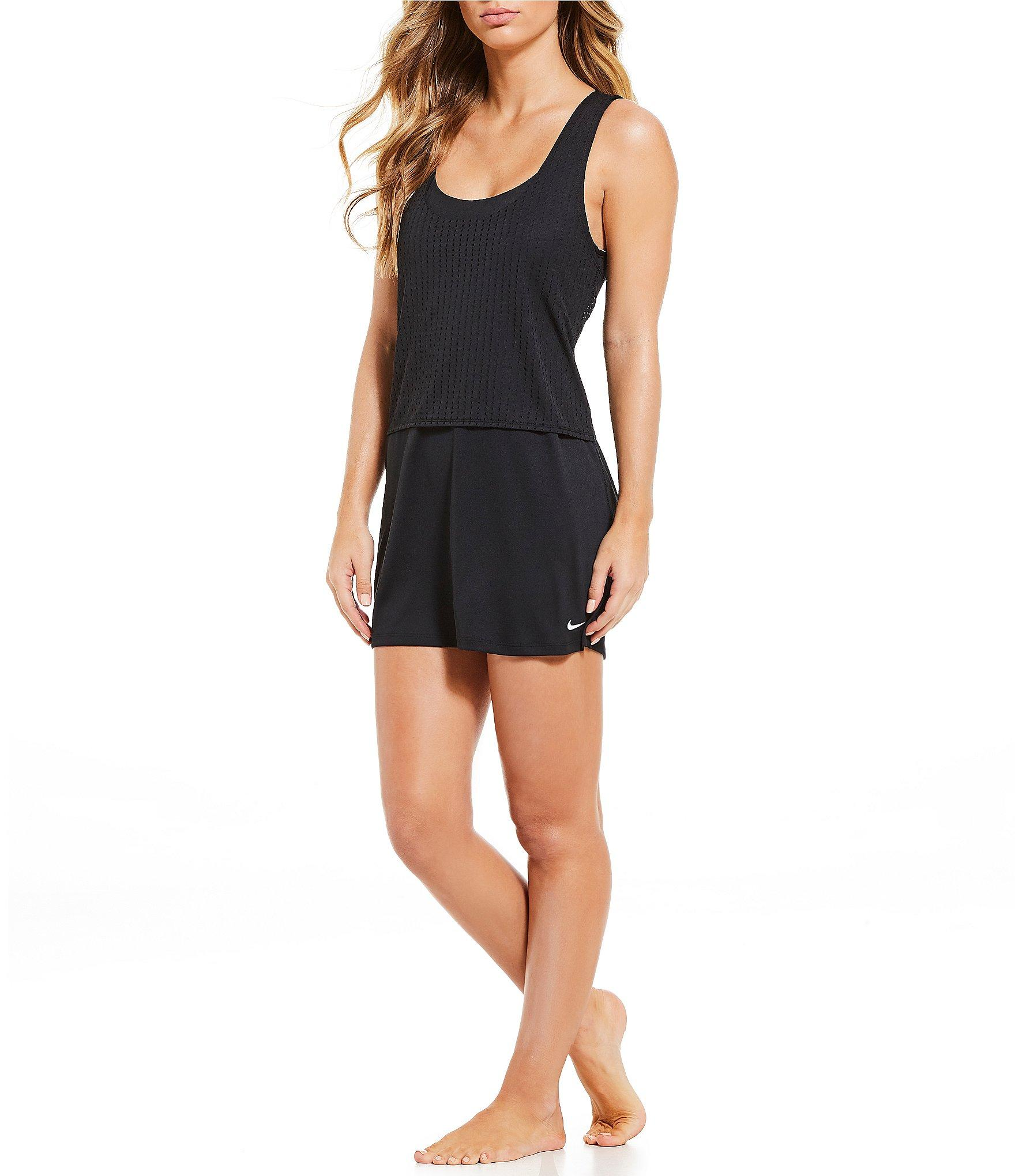 533bb03b63 Lyst - Nike Sport Mesh Reversible Layered Cover Up Dress in Black