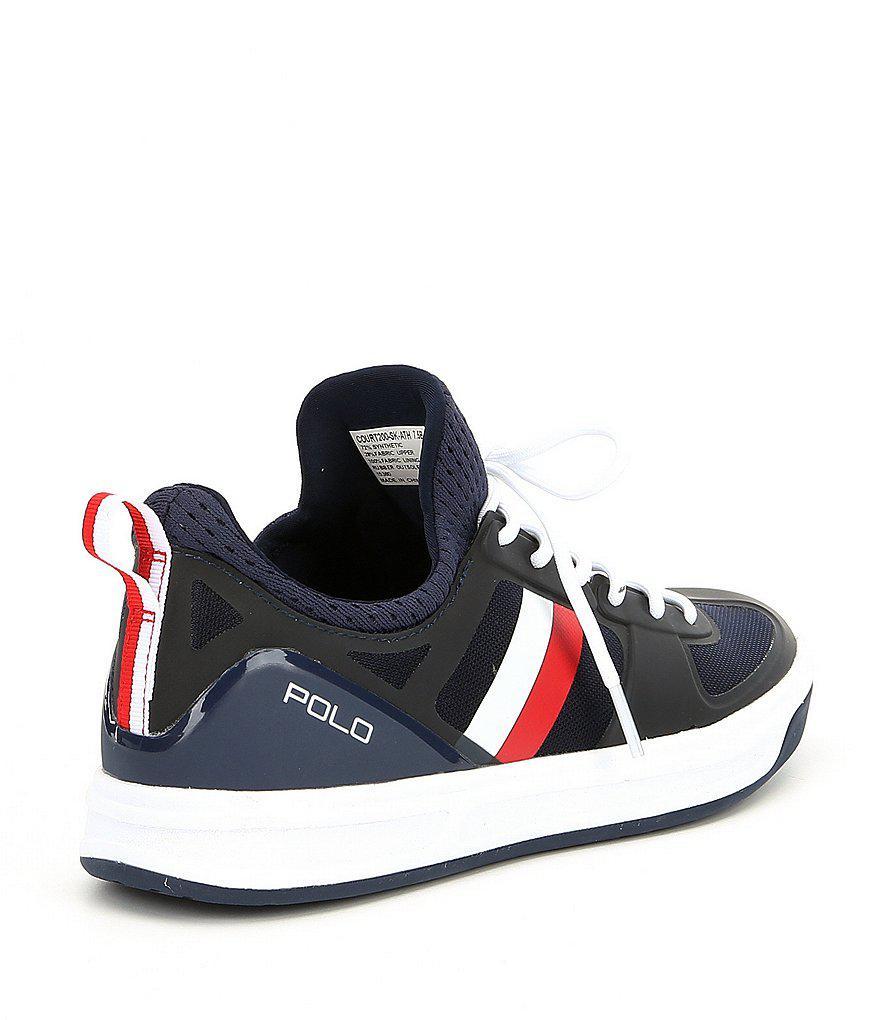 Polo Ralph Lauren Tribunal 200 Formateurs De Bande - Bleu Marine / Blanc / Rouge U2k14KFT
