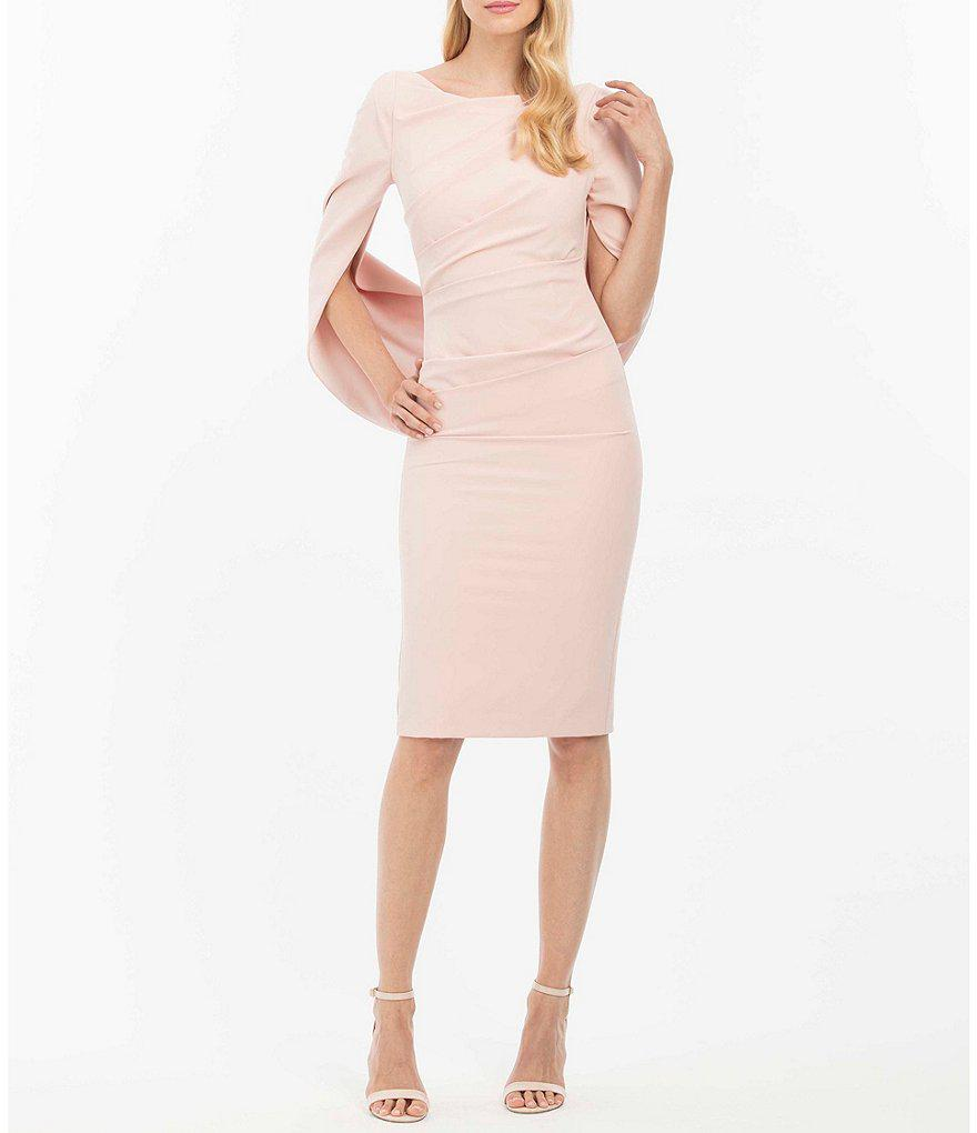 d143a8f0a62 Nicole Miller Drape Back Crepe Sheath Dress in Pink - Lyst