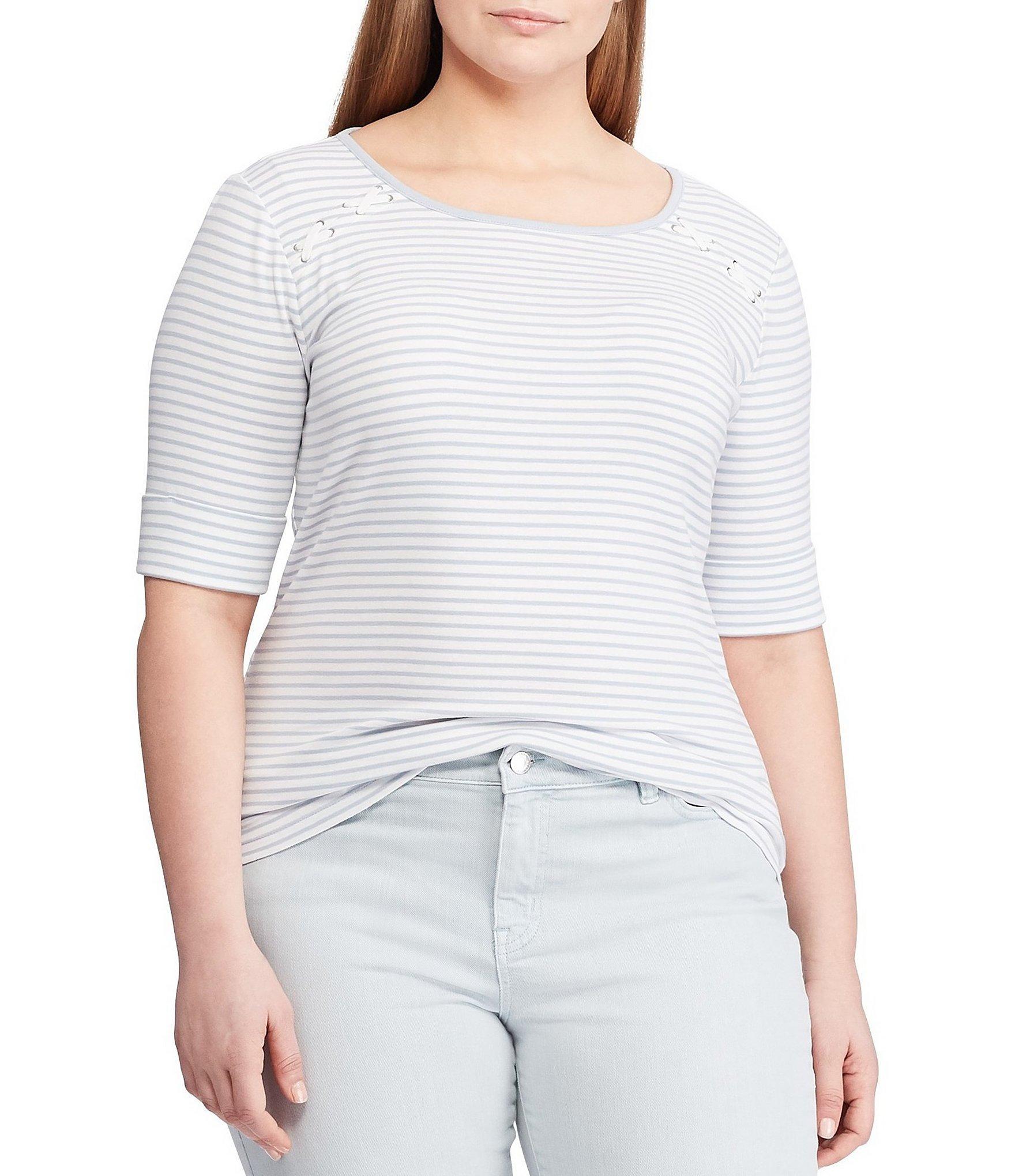 dd2c3e14ef9 Lyst - Lauren by Ralph Lauren Plus Size Striped Cotton Top in White