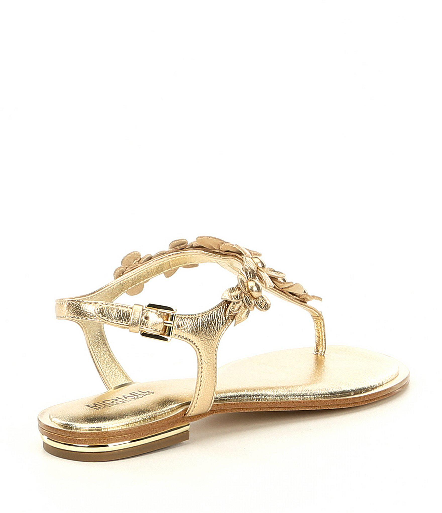 0468f730444a Lyst - MICHAEL Michael Kors Tricia Metallic Floral Thong Sandals in ...