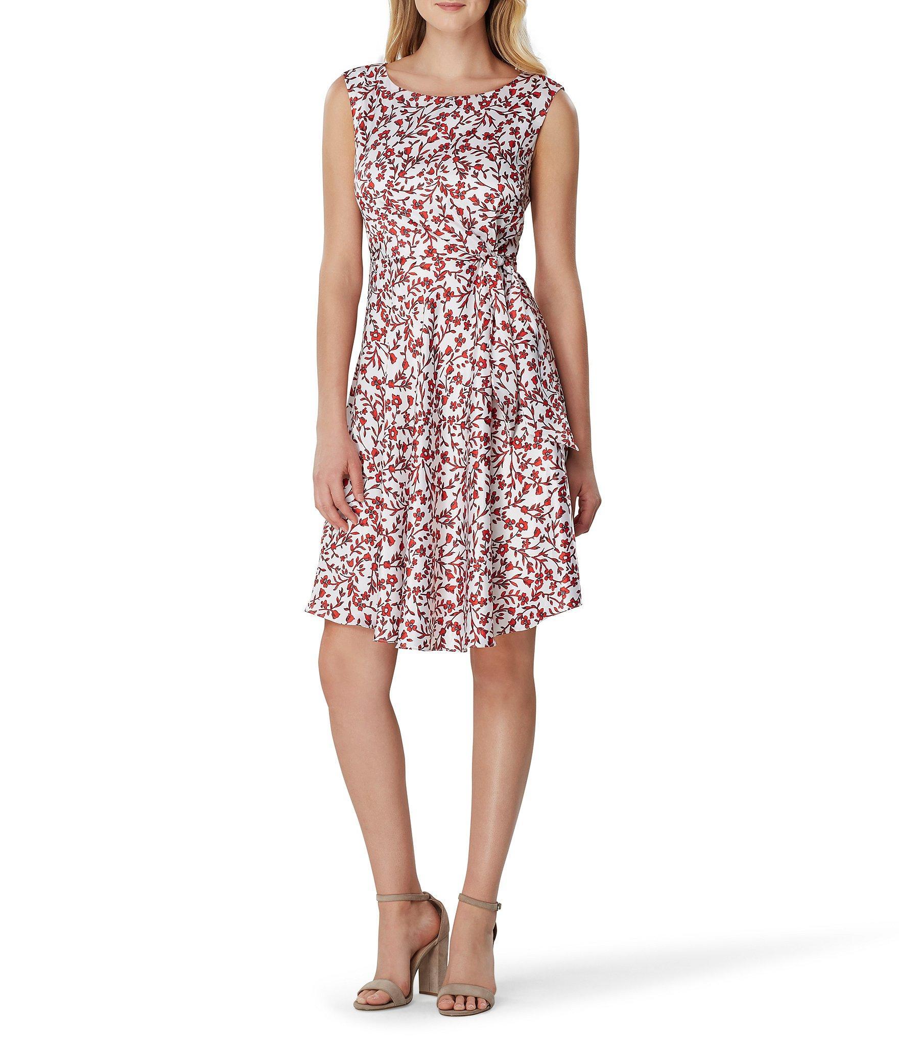 d782b7c0428 Lyst - Tahari Side Tie Floral A-line Dress