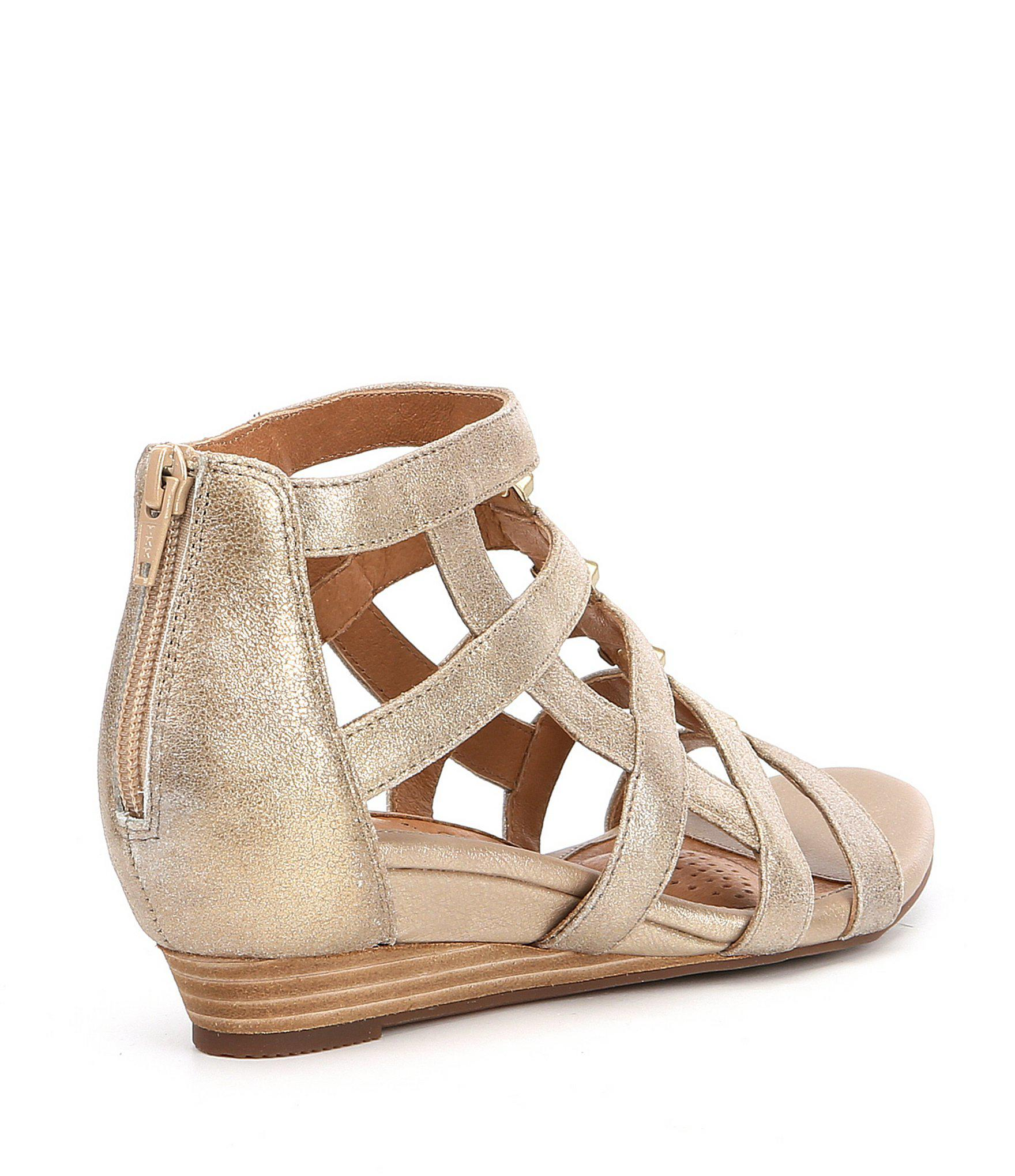 f181fb7b8a9f Lyst - Söfft Rio Leather Caged Metal Detail Gladiator Wedges in Metallic