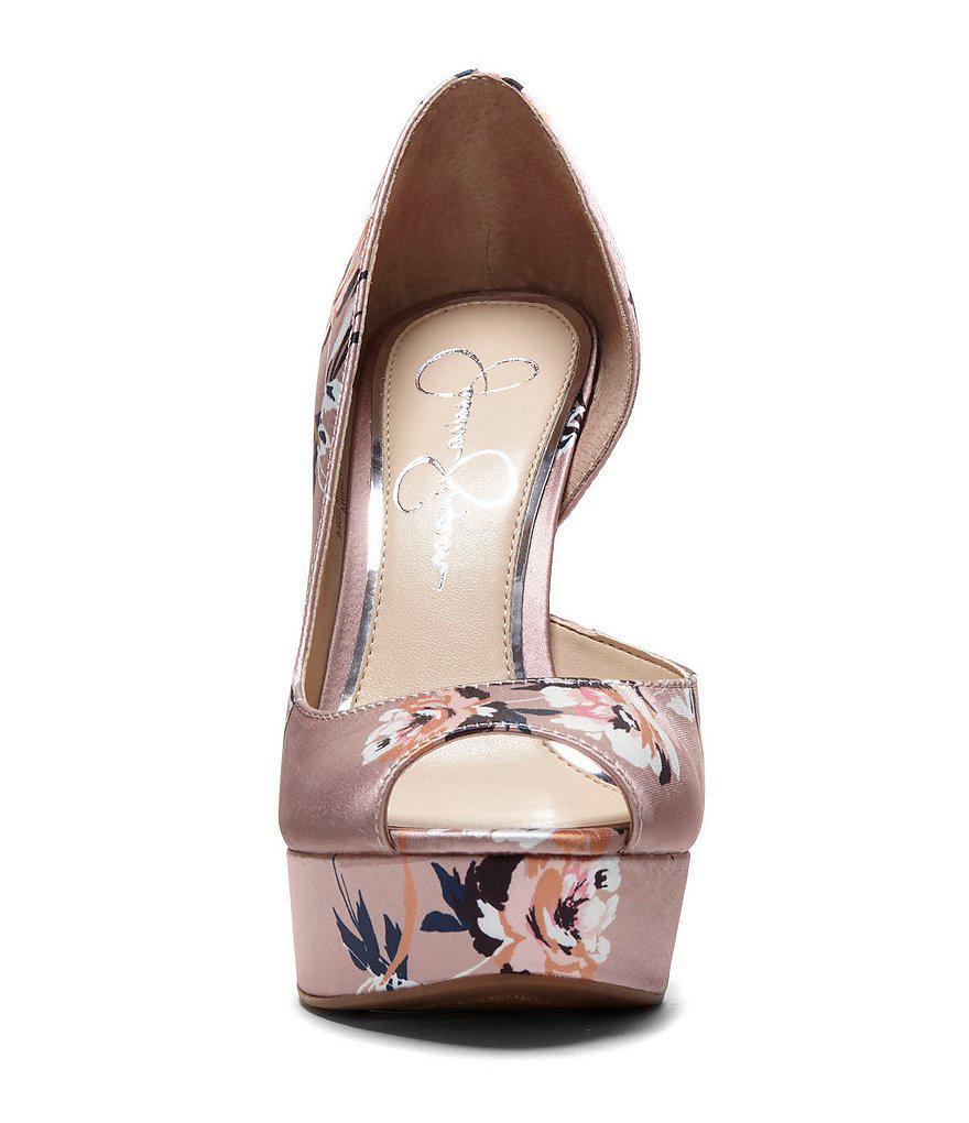 Martella Satin Floral Platform d'Orsay Peep-Toe Pumps SsXPbfMx