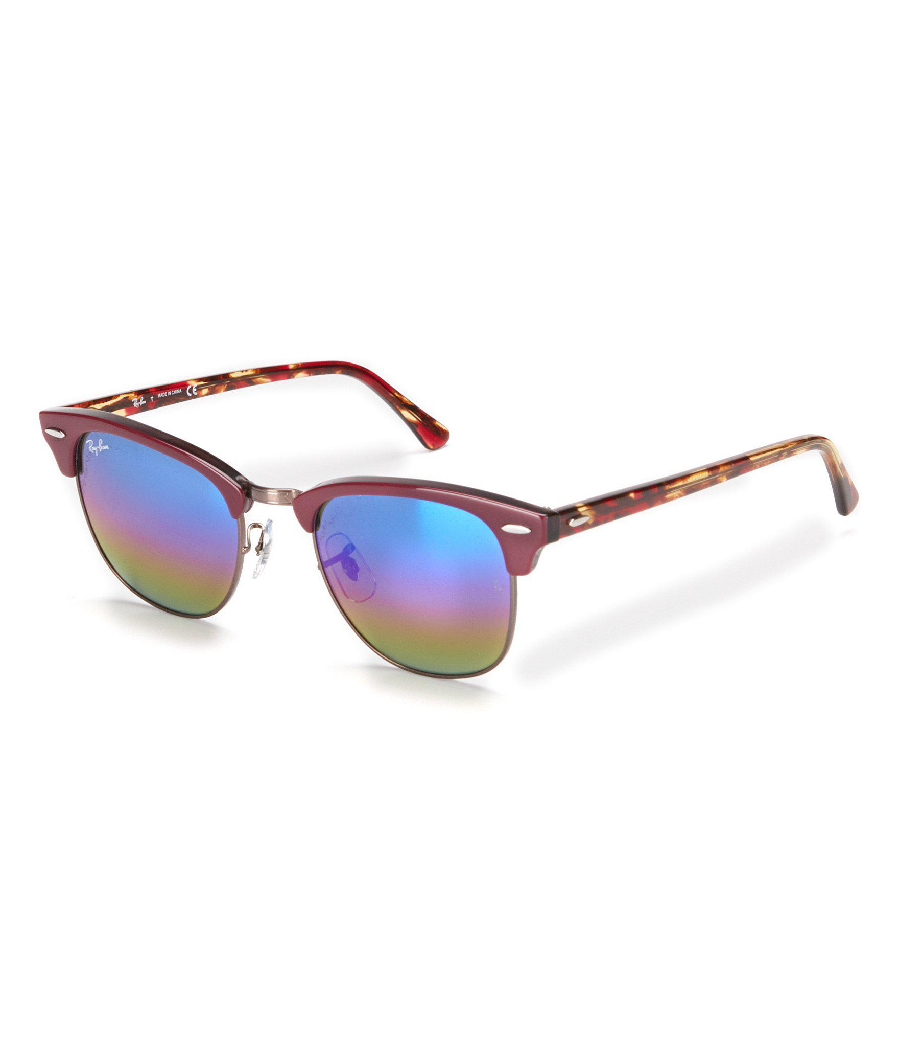 8b3aafa81c0 Lyst - Ray-Ban Clubmaster Classic Uv Protection Sunglasses in Red ...